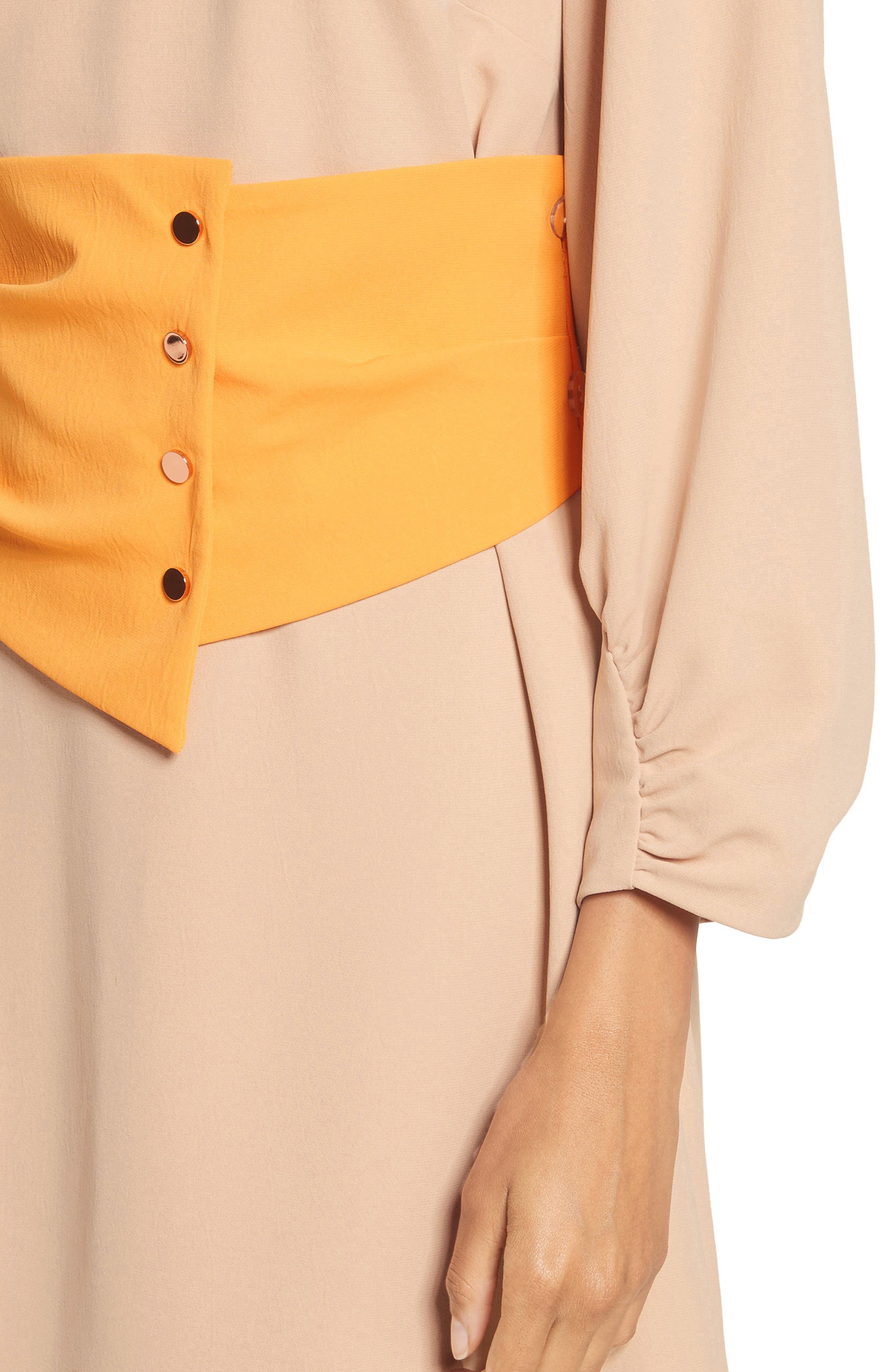 Shirred Sleeve Corset Dress,                             Alternate thumbnail 4, color,                             NUDE/ ORANGE MULTI