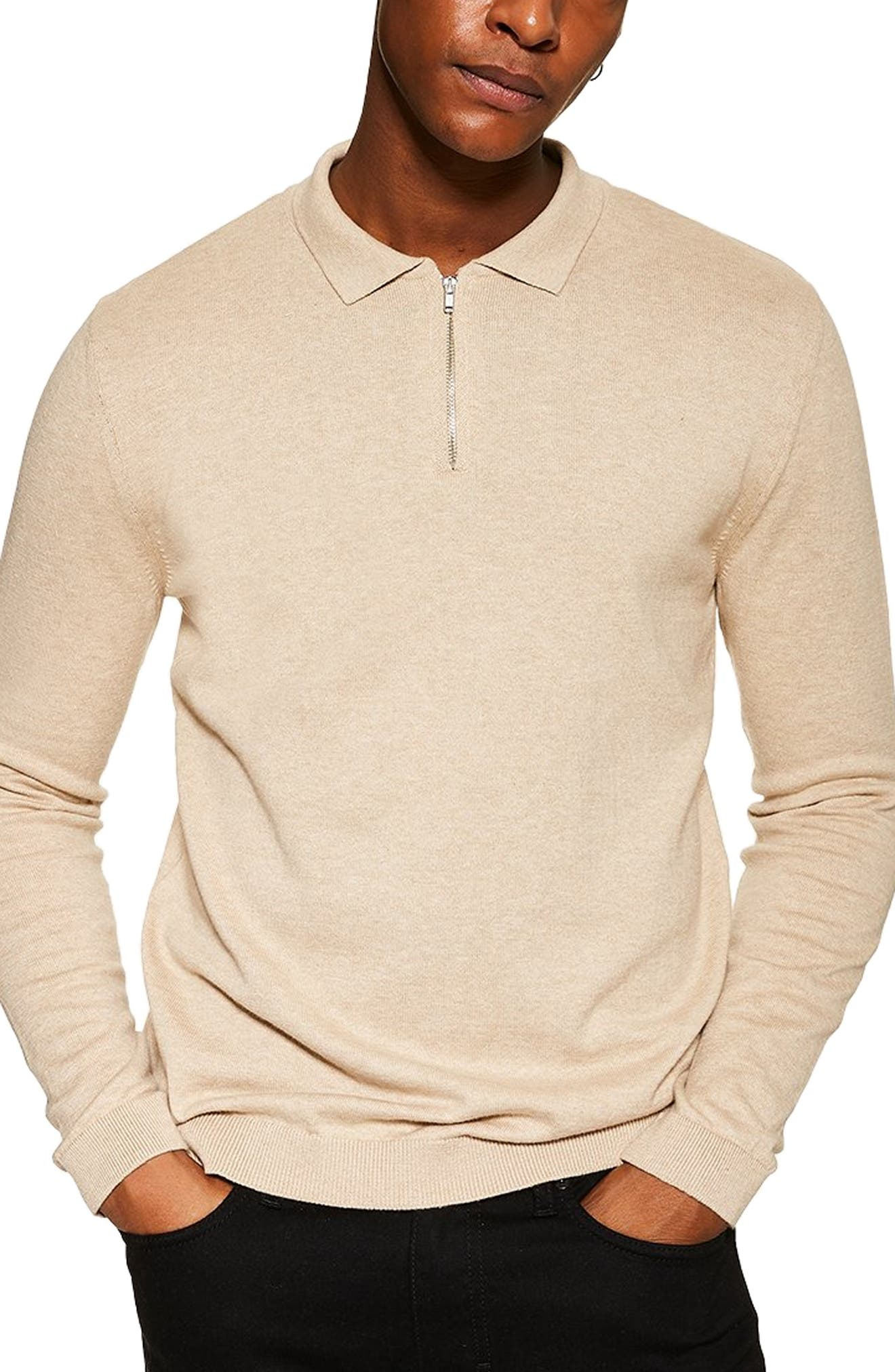 TOPMAN,                             Long Sleeve Polo Sweater,                             Main thumbnail 1, color,                             STONE