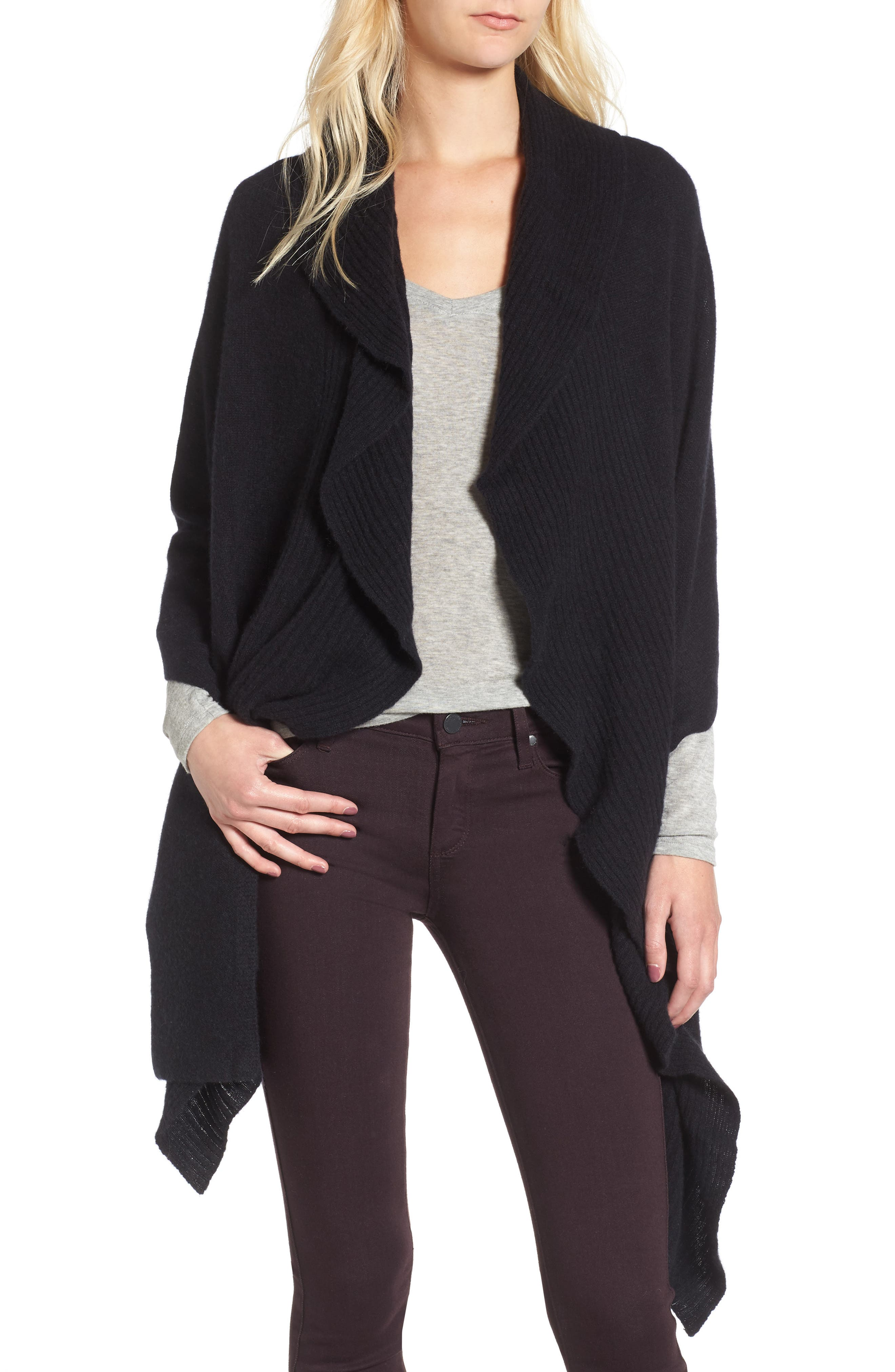 Cashmere Ruffle Wrap,                         Main,                         color, BLACK