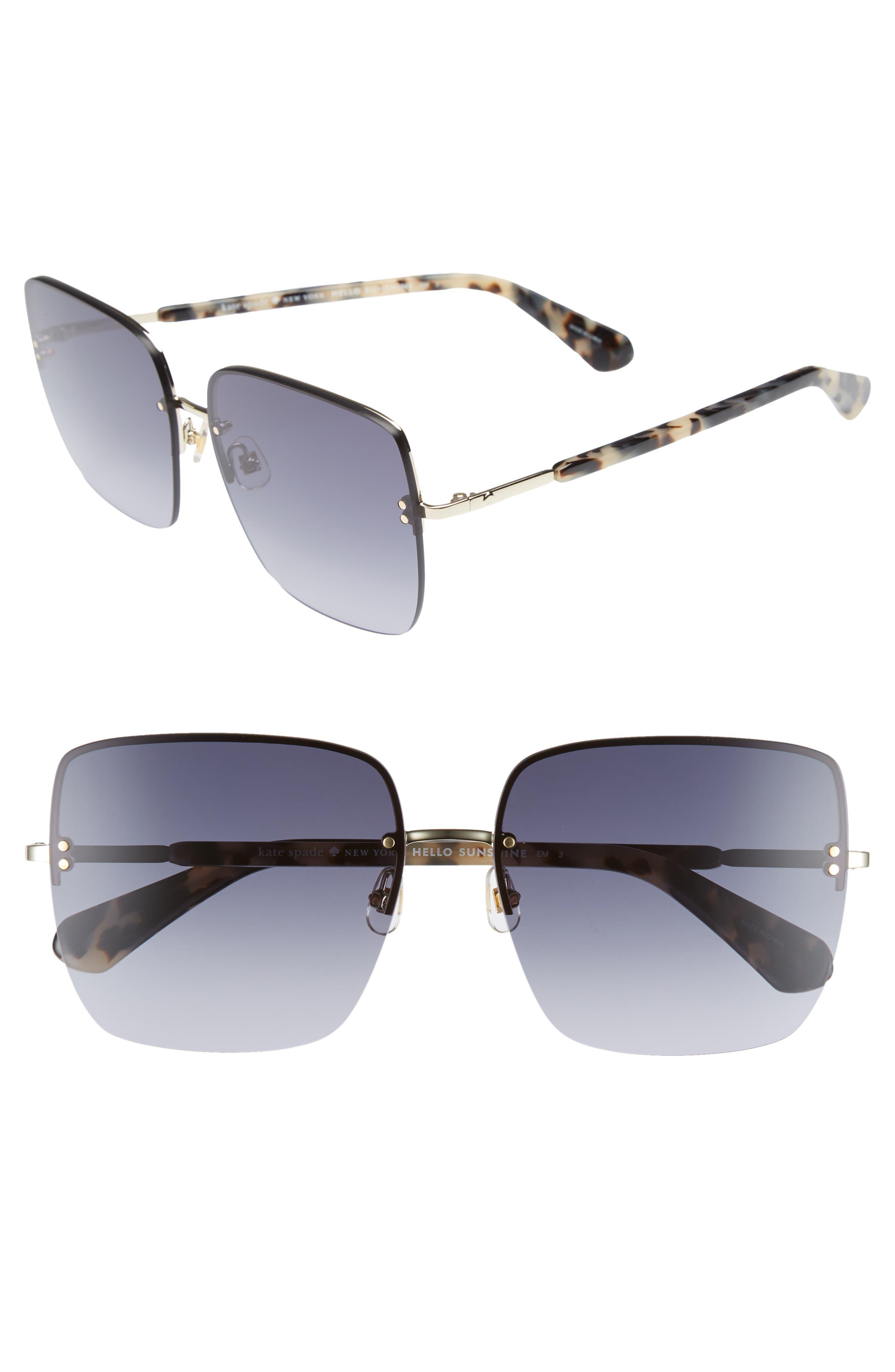 janays 61mm rimless square sunglasses,                         Main,                         color, WHITE HAVANA