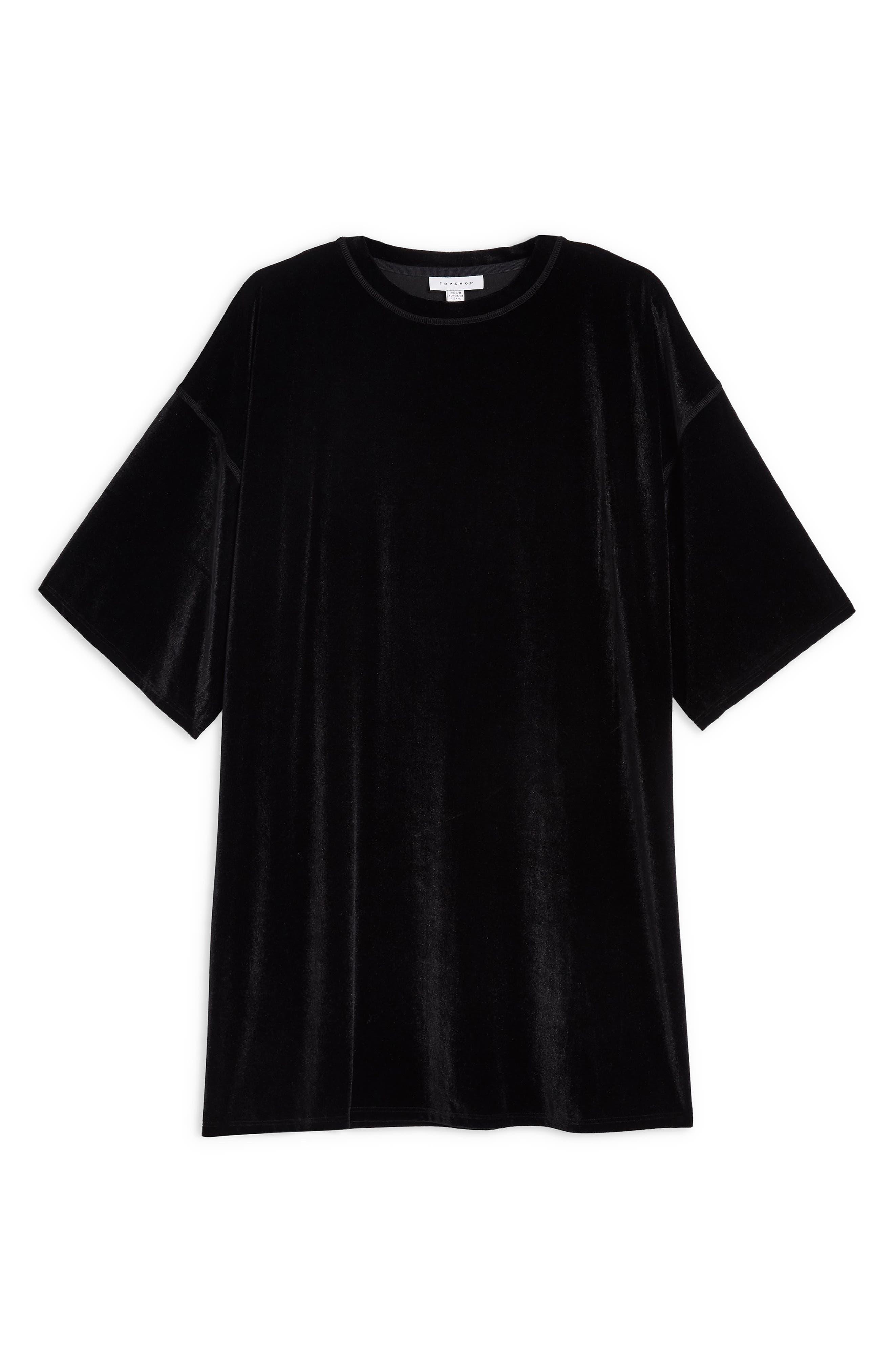 Velvet Tunic Shirt,                             Alternate thumbnail 3, color,                             BLACK