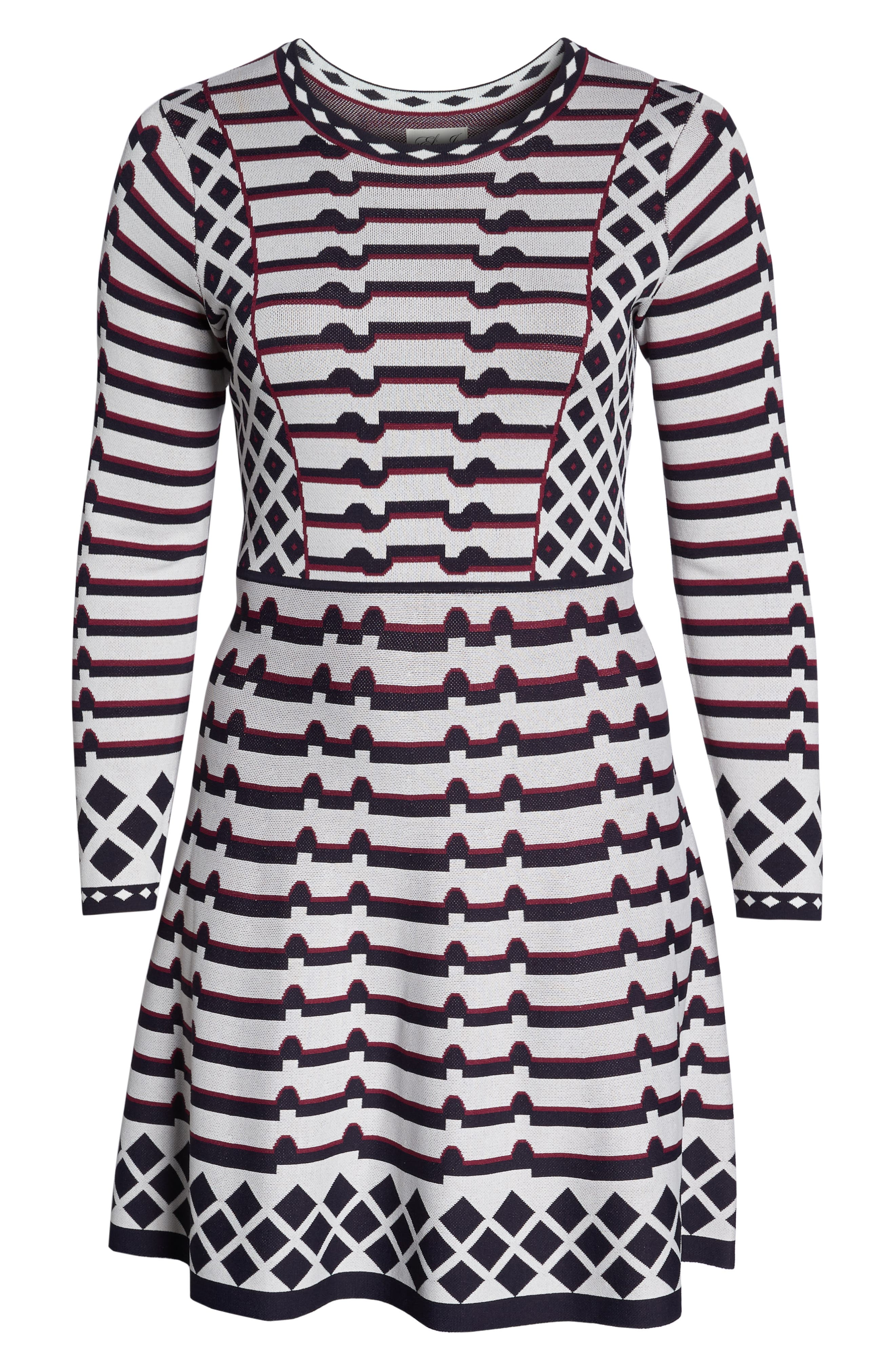 Artwork Jacquard Sweater Dress,                             Alternate thumbnail 7, color,                             NAVY