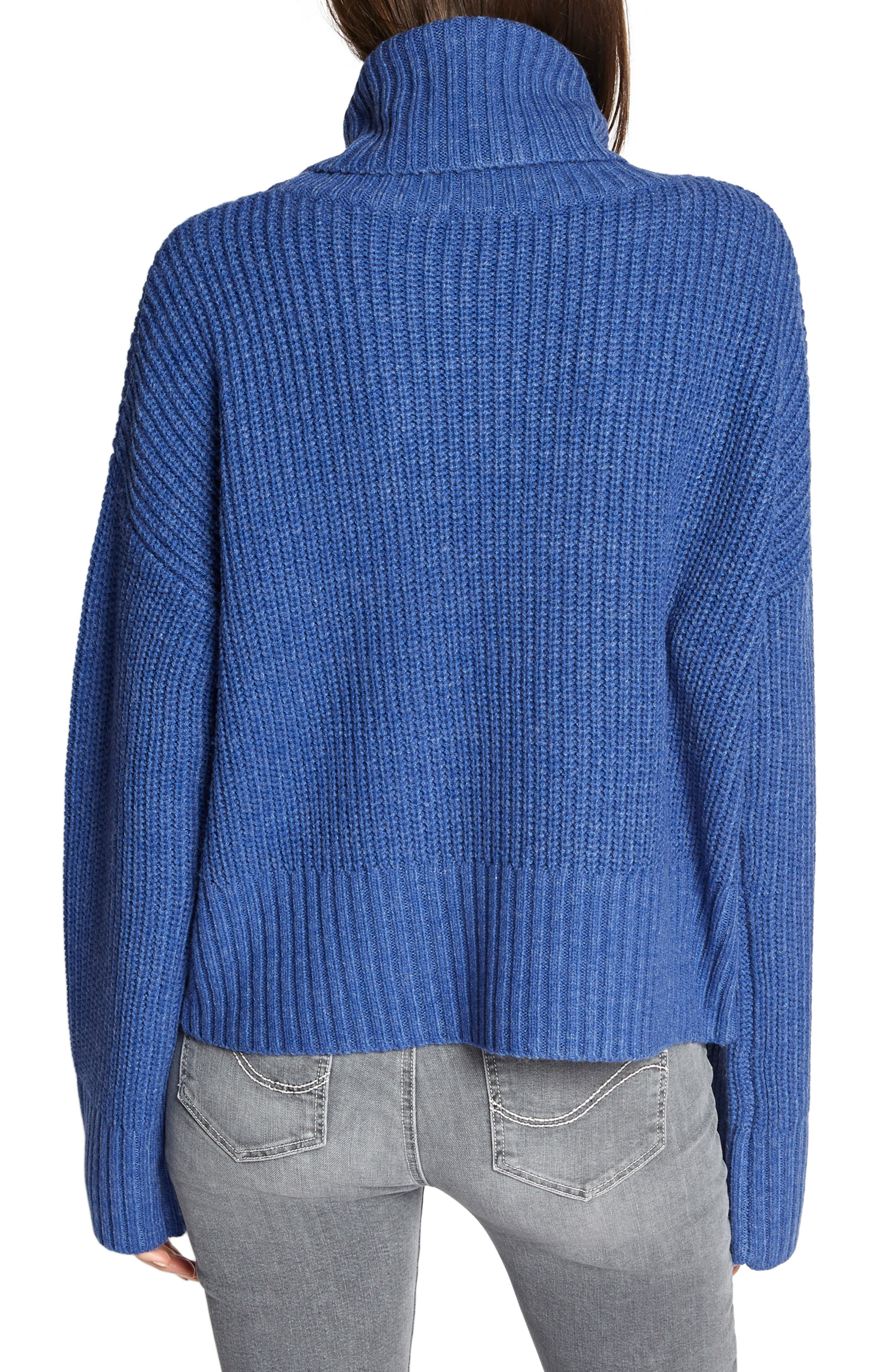 Cowl Neck Shaker Sweater,                             Alternate thumbnail 2, color,                             HEATHER ELECTRIC BLUE