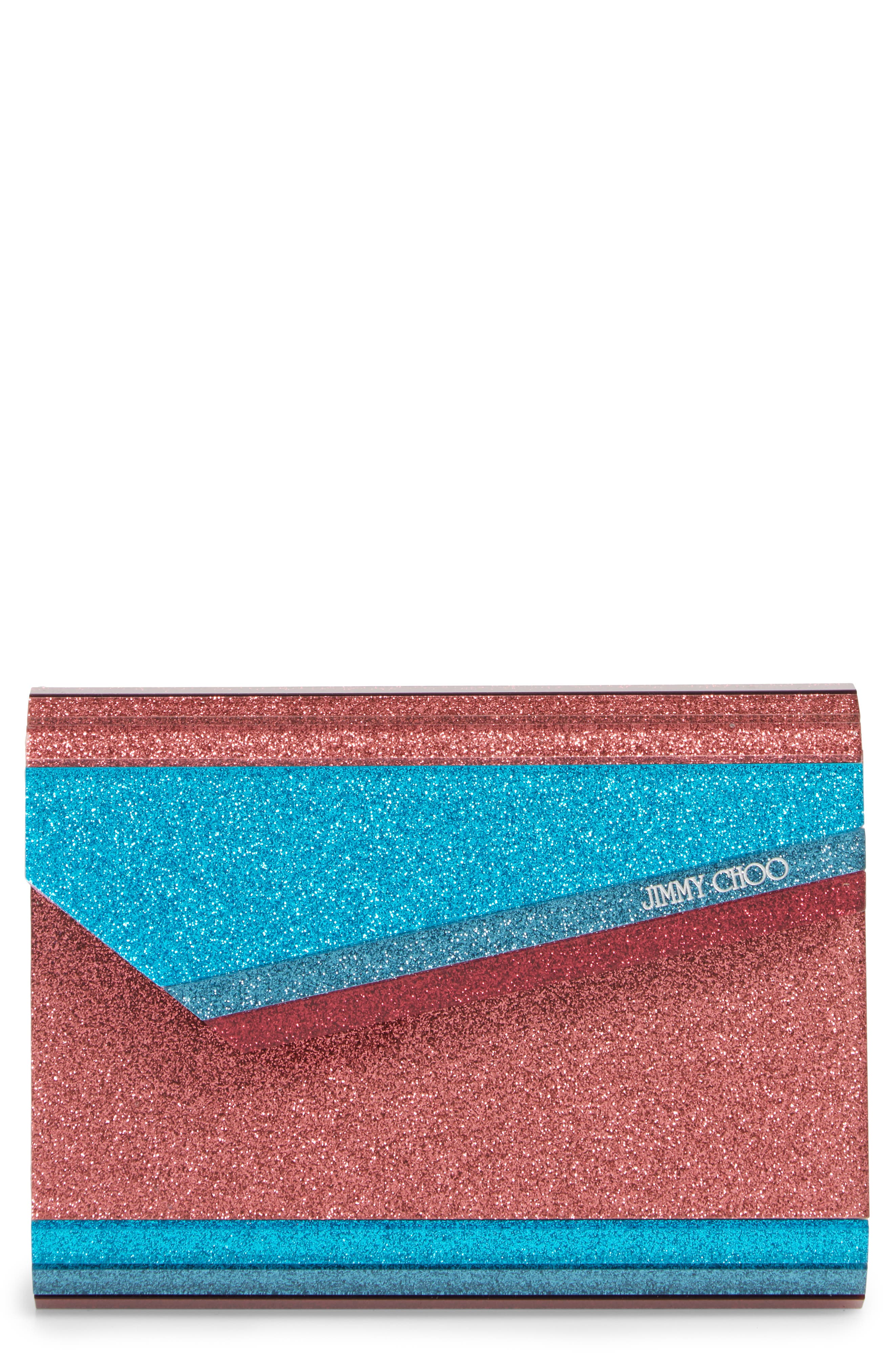 JIMMY CHOO,                             Candy Colorblock Glitter Clutch,                             Main thumbnail 1, color,                             RASPBERRY MIX
