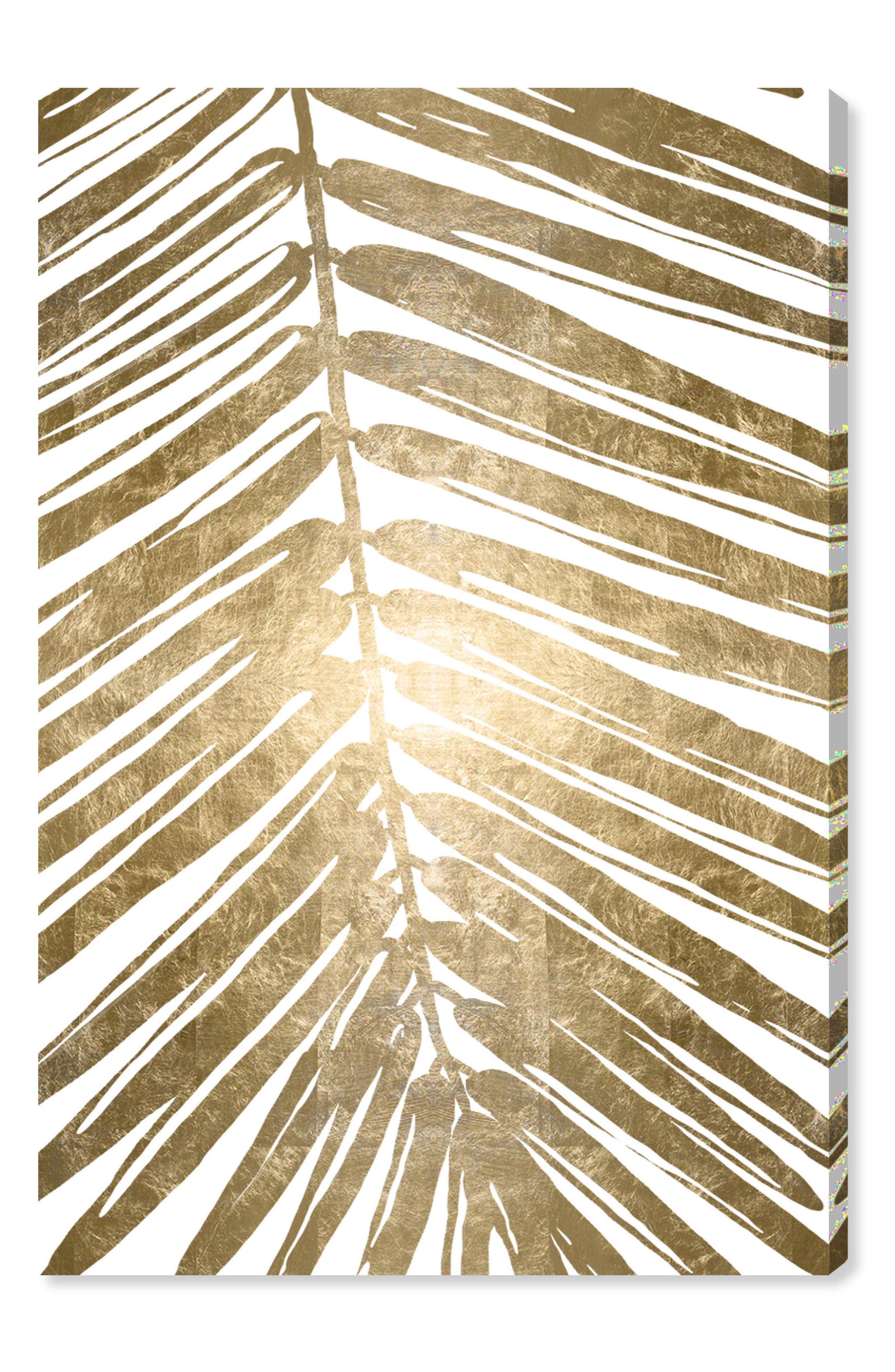 Gold Tropical Leaves IV Canvas Wall Art,                             Main thumbnail 1, color,                             METALLIC GOLD