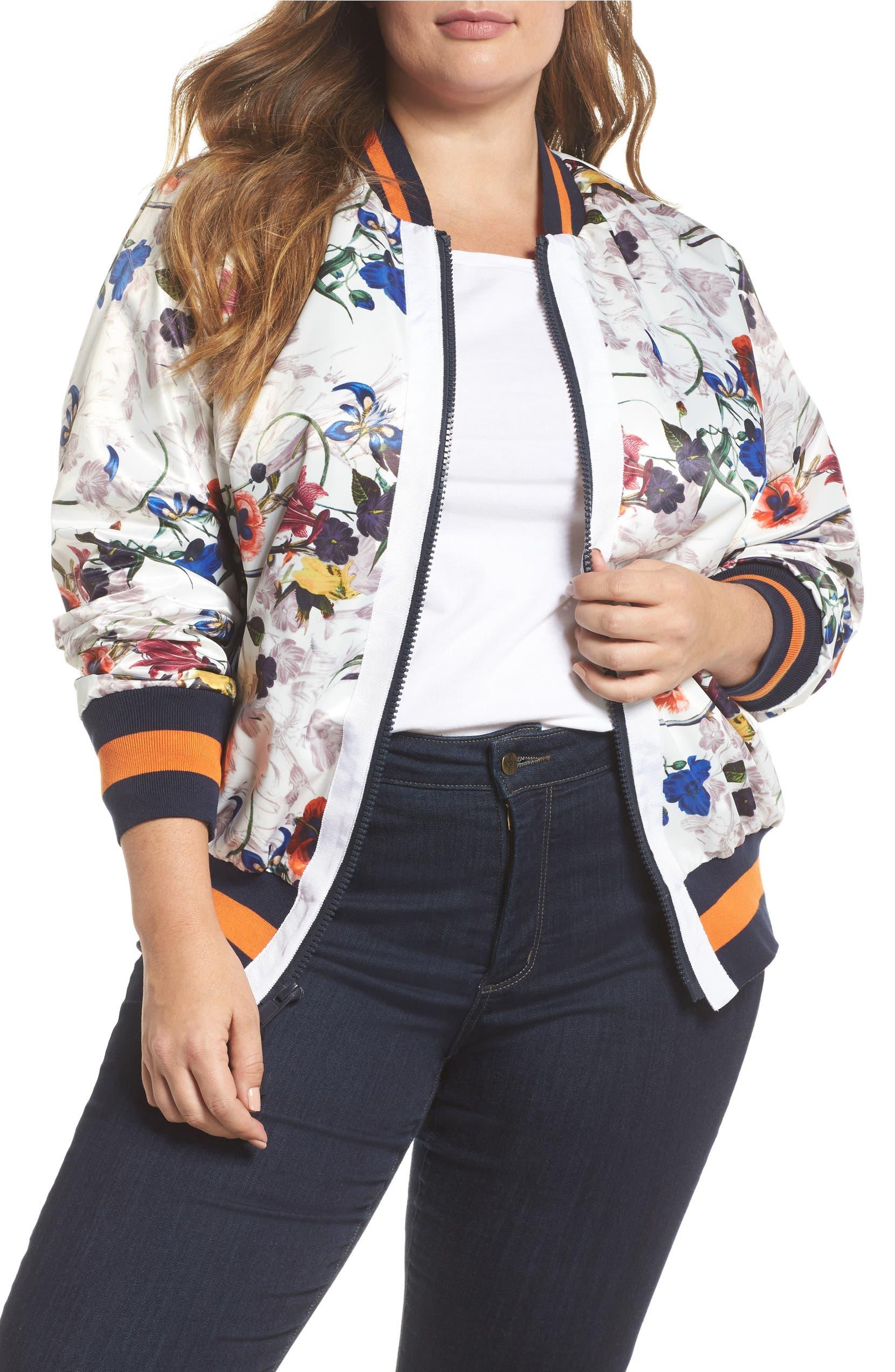 468505836b1 RACHEL Rachel Roy Floral Bomber Jacket (Plus Size)