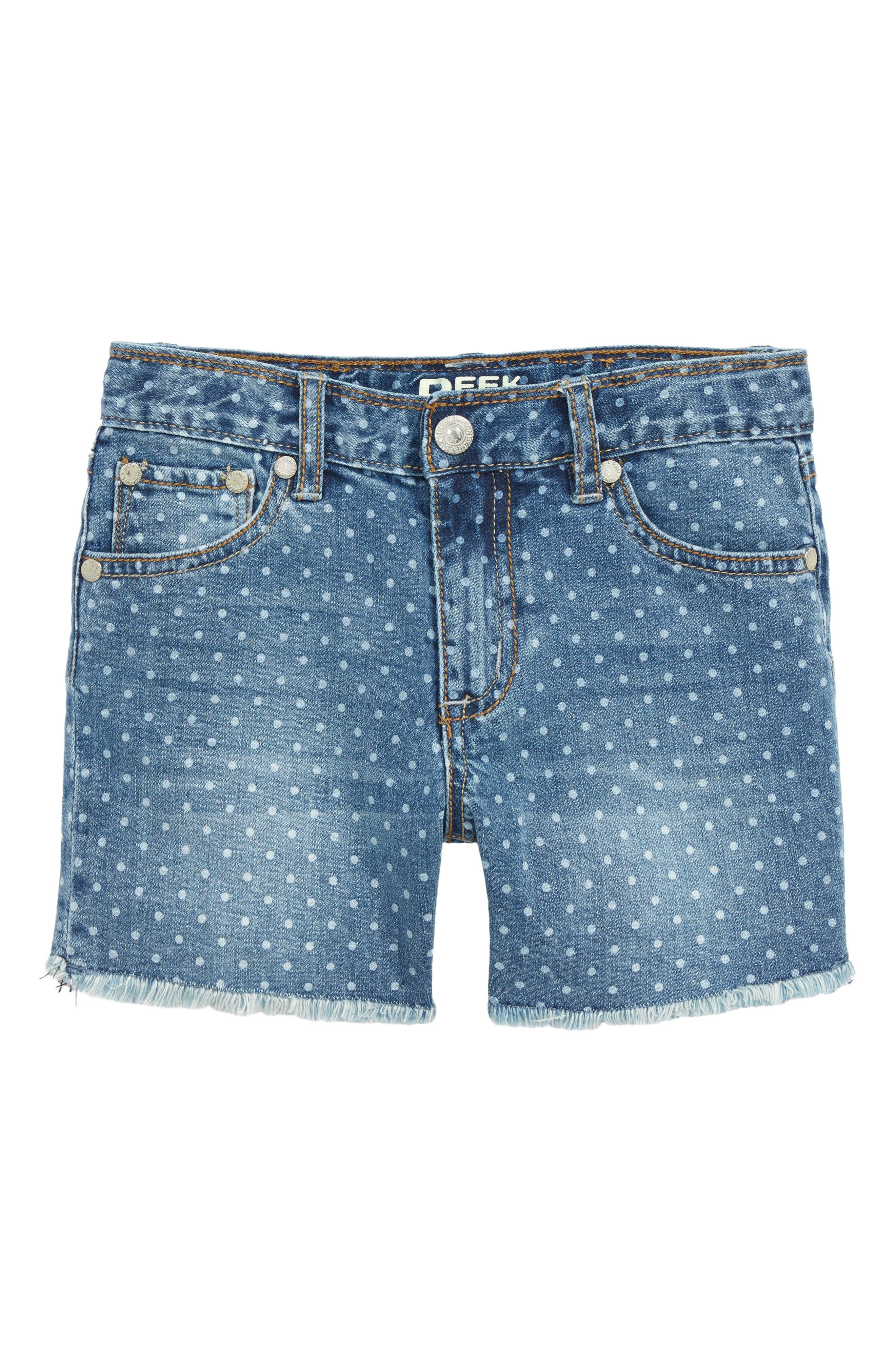 Griffin Dot Cutoff Denim Shorts,                         Main,                         color,