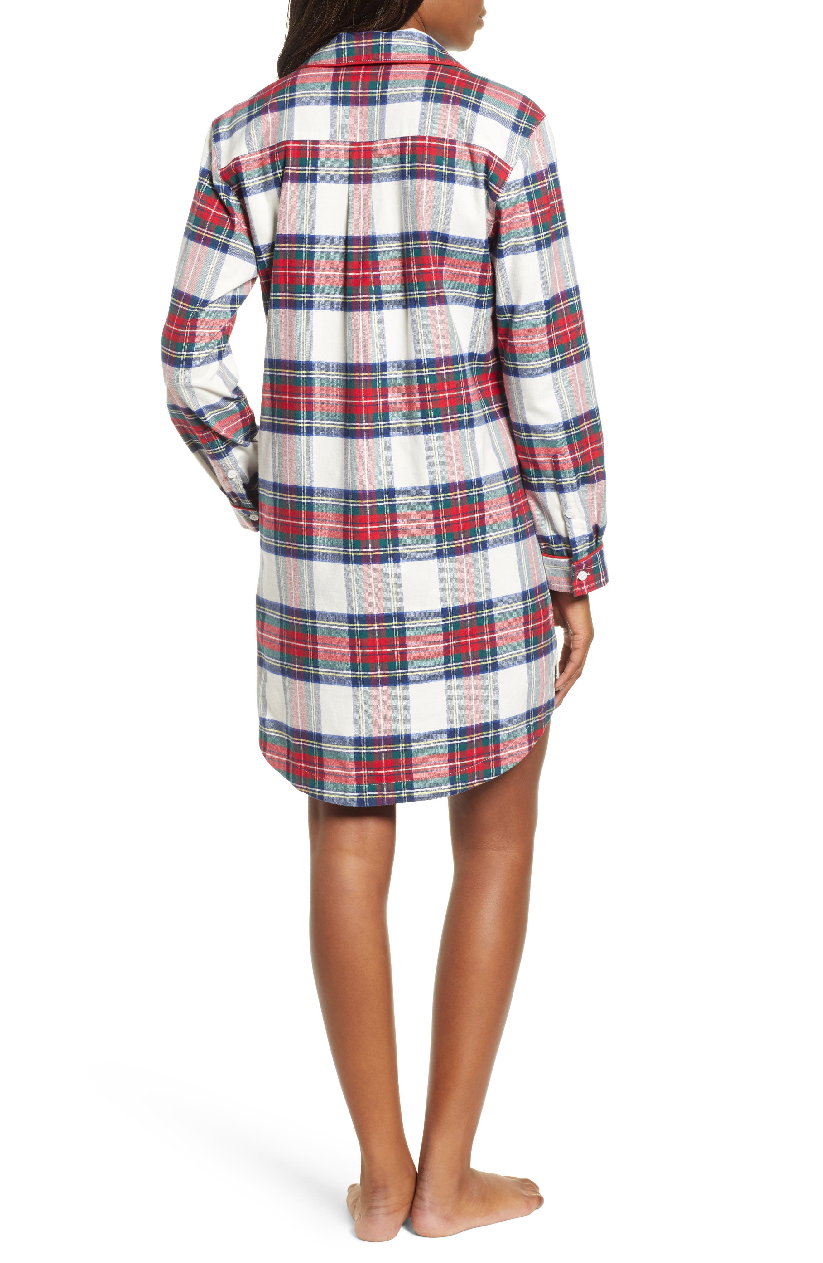 Jolly Plaid Flannel Pajama Shirt,                             Alternate thumbnail 2, color,                             FROST