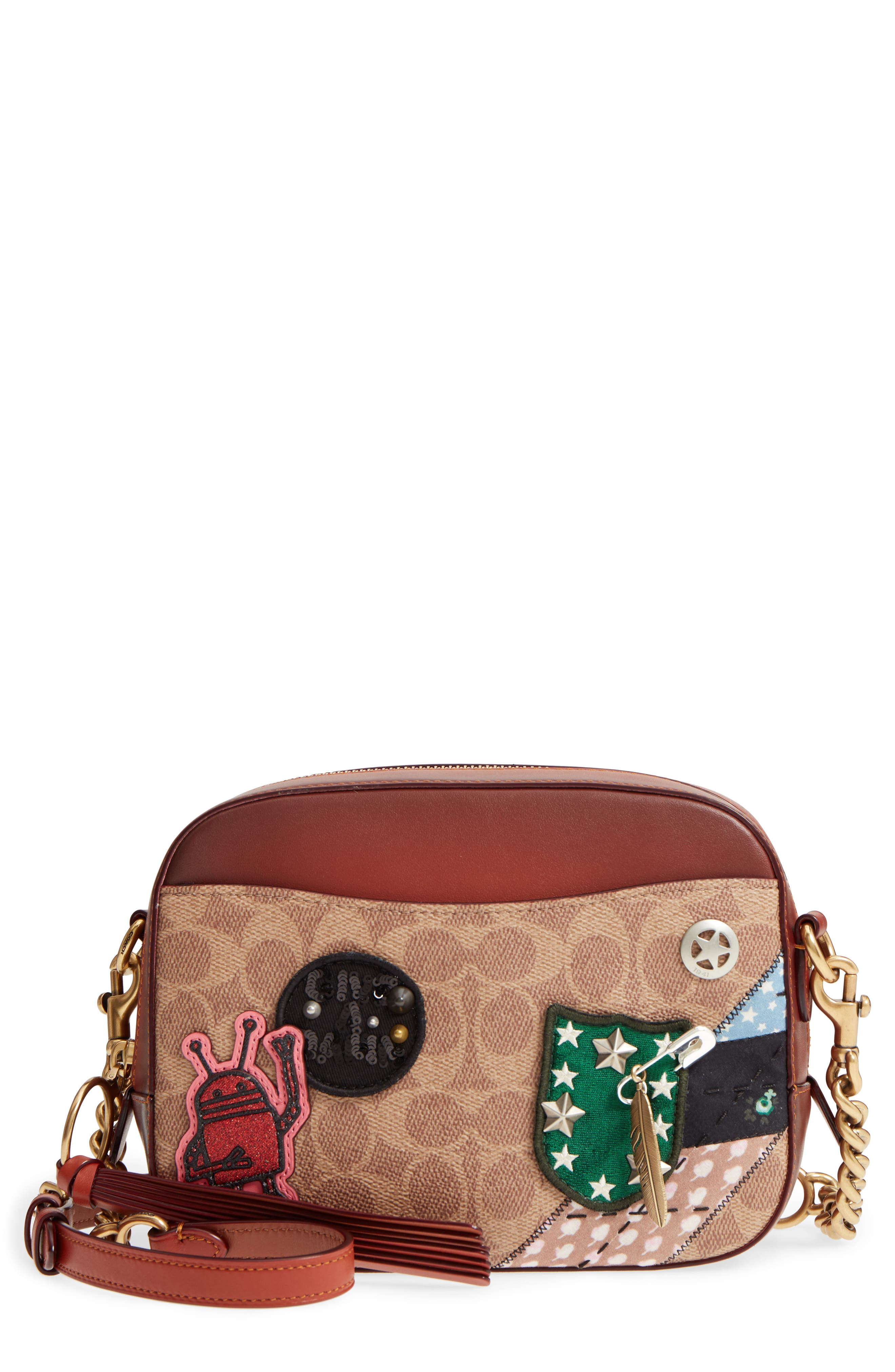 x Keith Haring Signature Patchwork Camera Bag,                         Main,                         color, BRASS/RUST