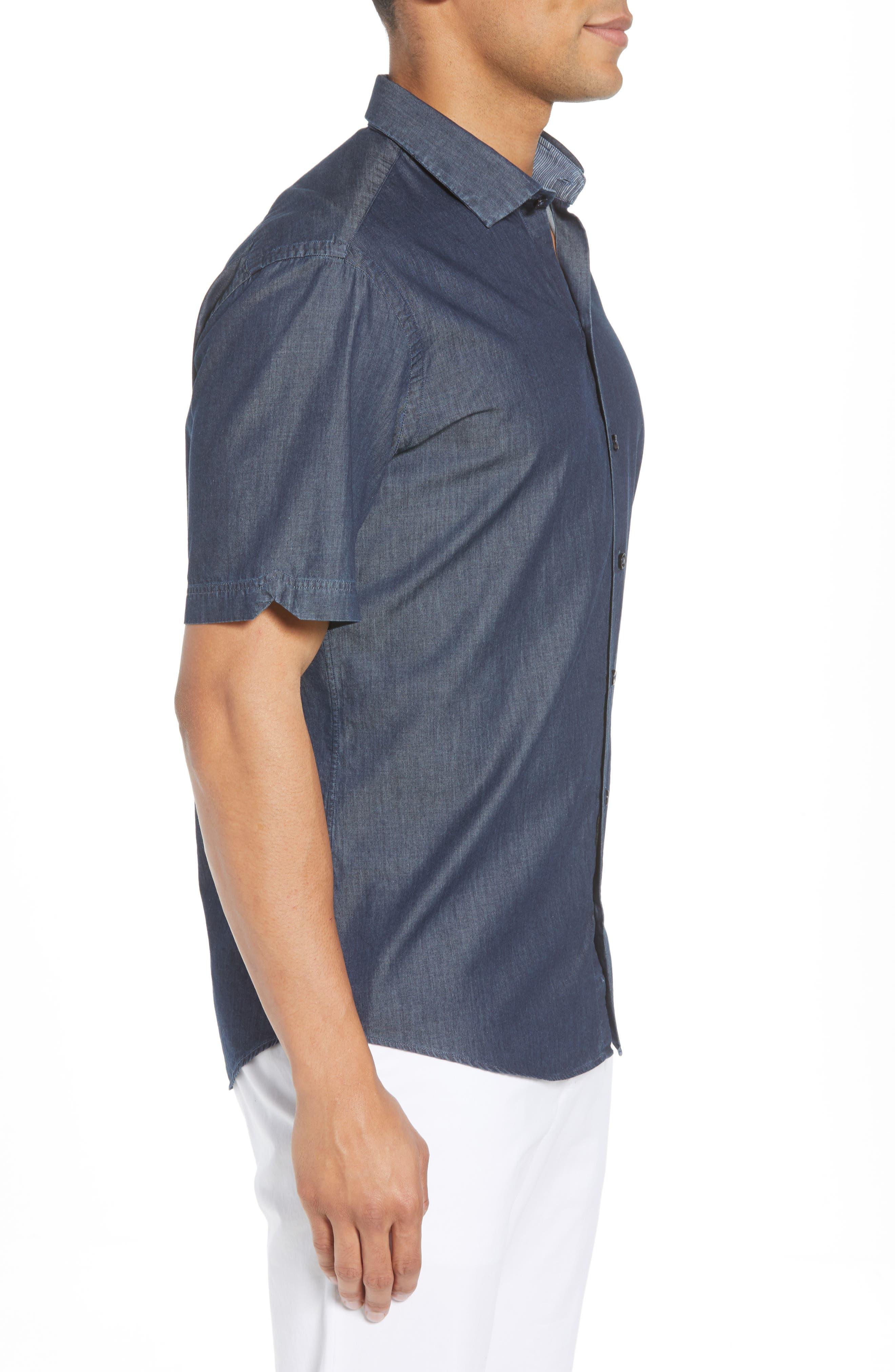 ZACHARY PRELL,                             Manolis Denim Sport Shirt,                             Alternate thumbnail 3, color,                             471