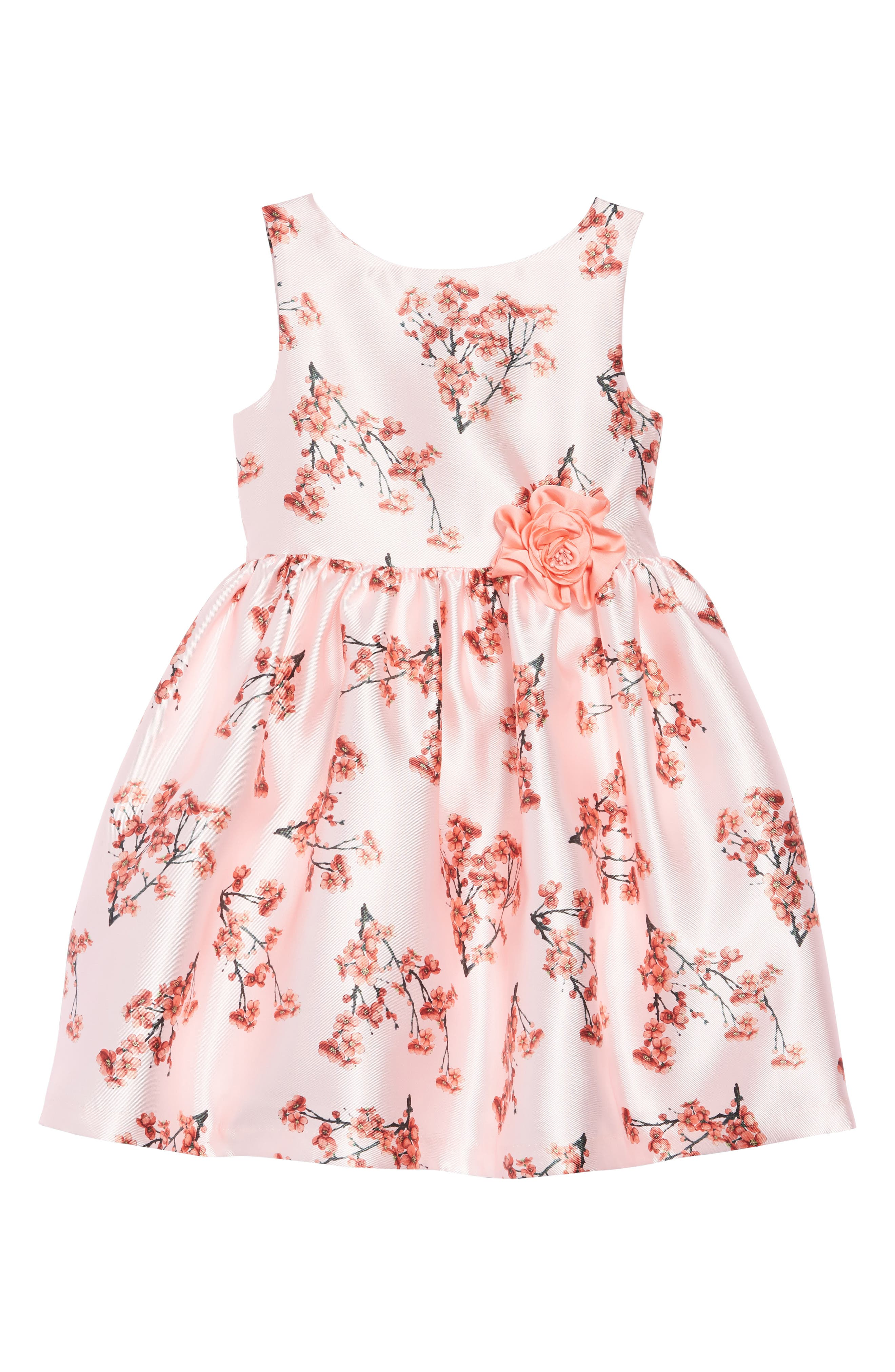 FRAIS,                             Cherry Blossom Fit & Flare Dress,                             Main thumbnail 1, color,                             PINK