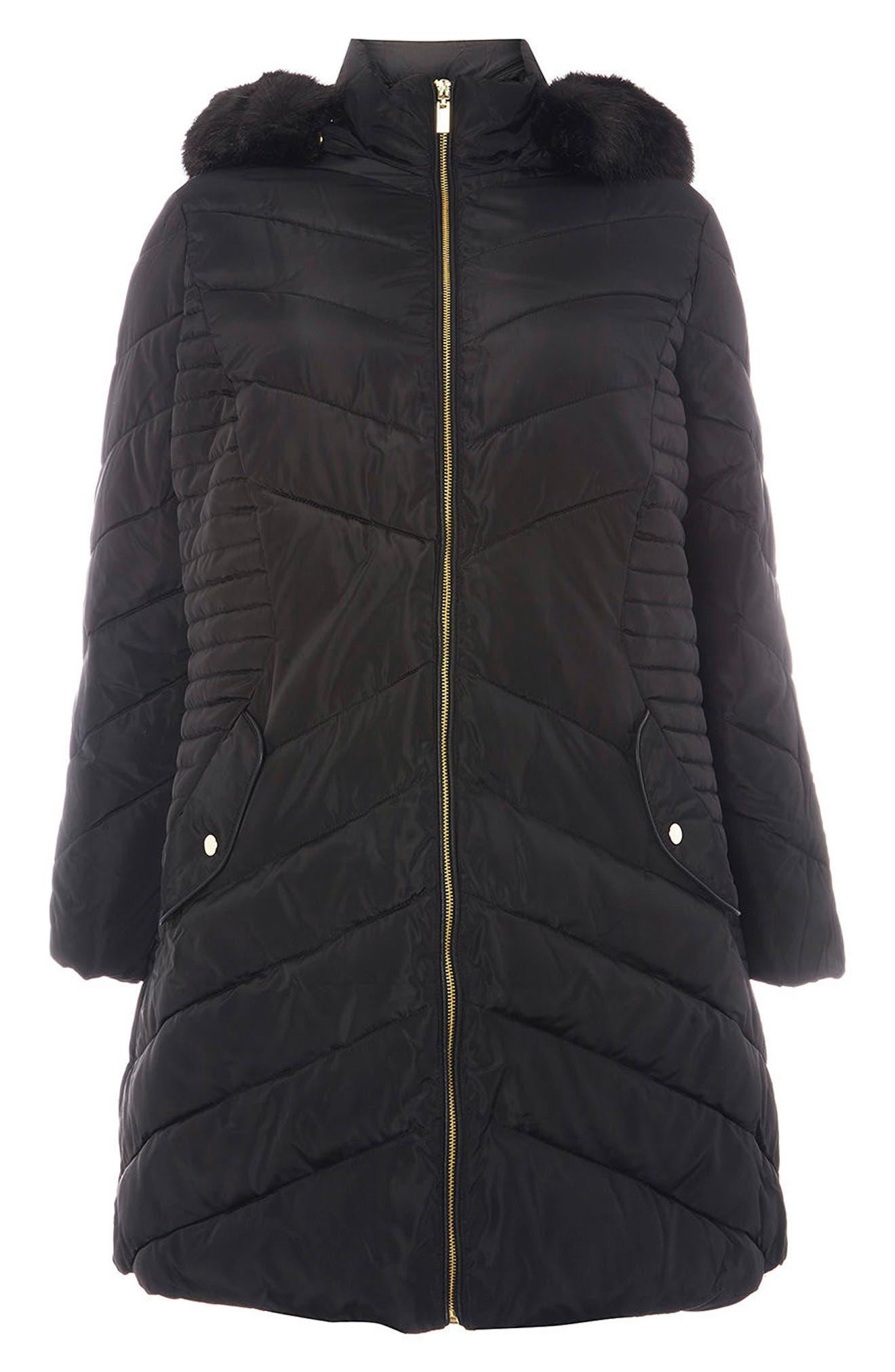 Faux Fur Trim Hooded Puffer Coat,                             Alternate thumbnail 3, color,                             001