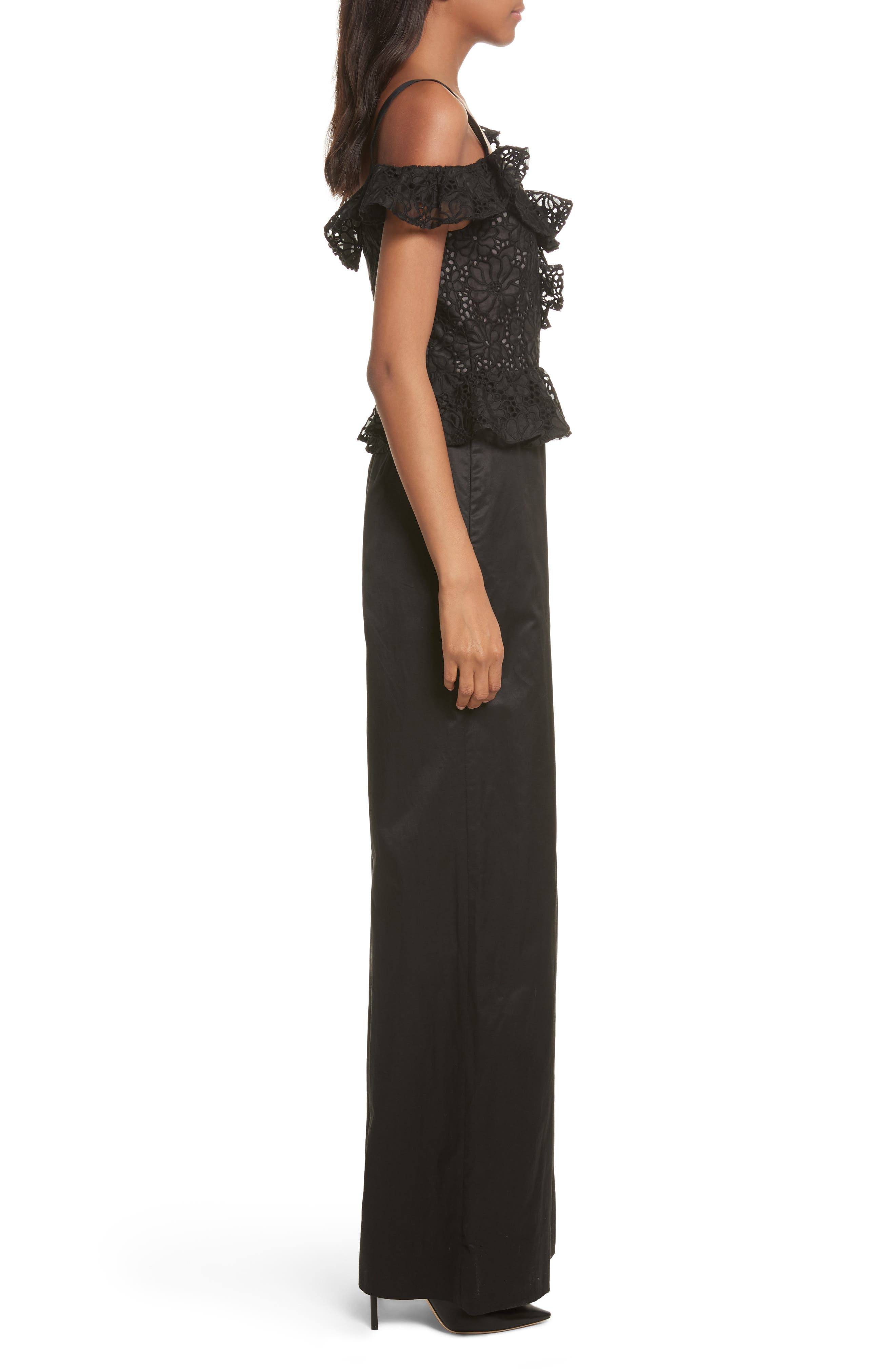 Malorie Off the Shoulder Embroidered Silk Jumpsuit,                             Alternate thumbnail 3, color,                             001