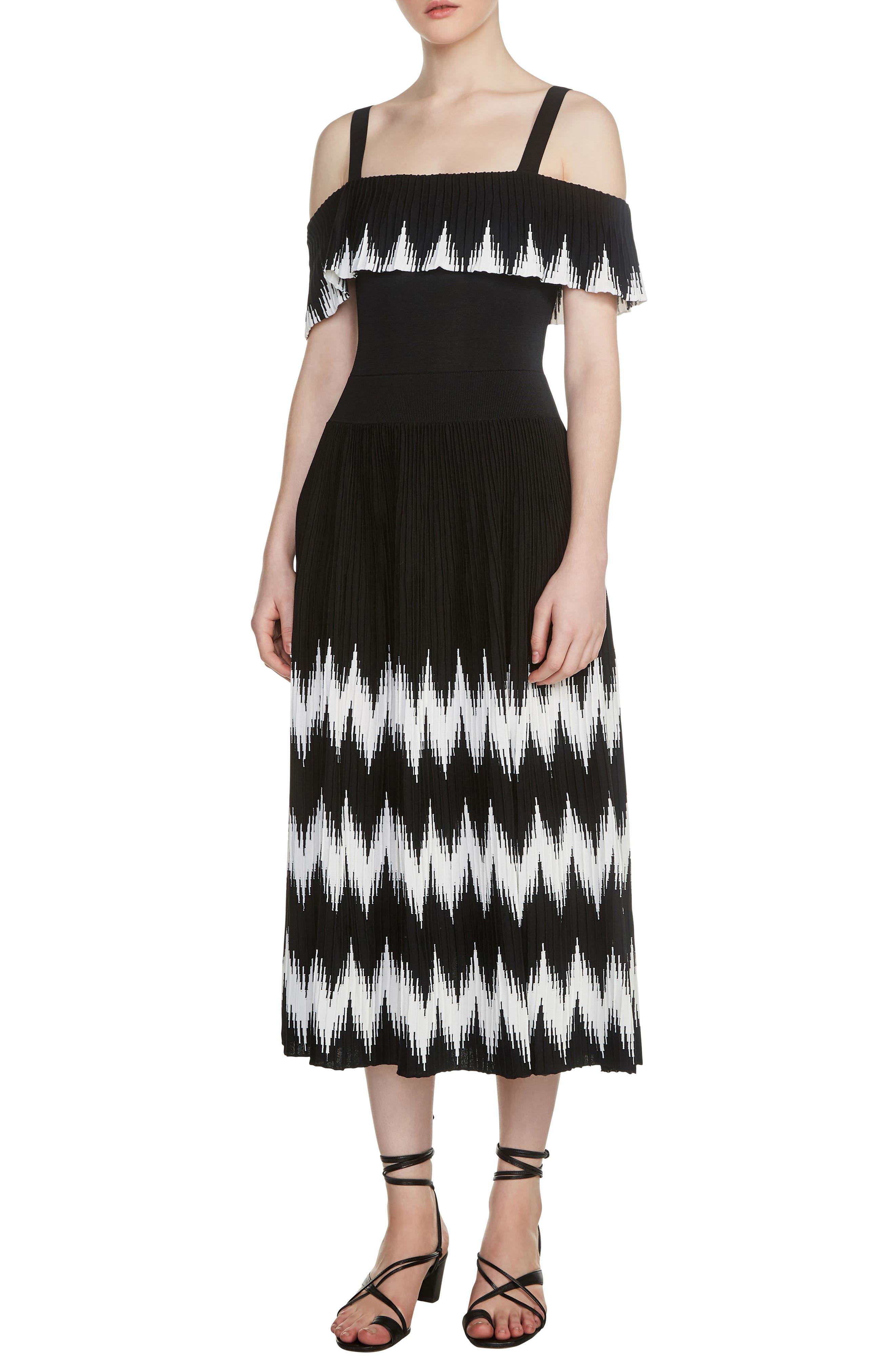 Rosier Cold Shoulder Midi Dress,                         Main,                         color, 001