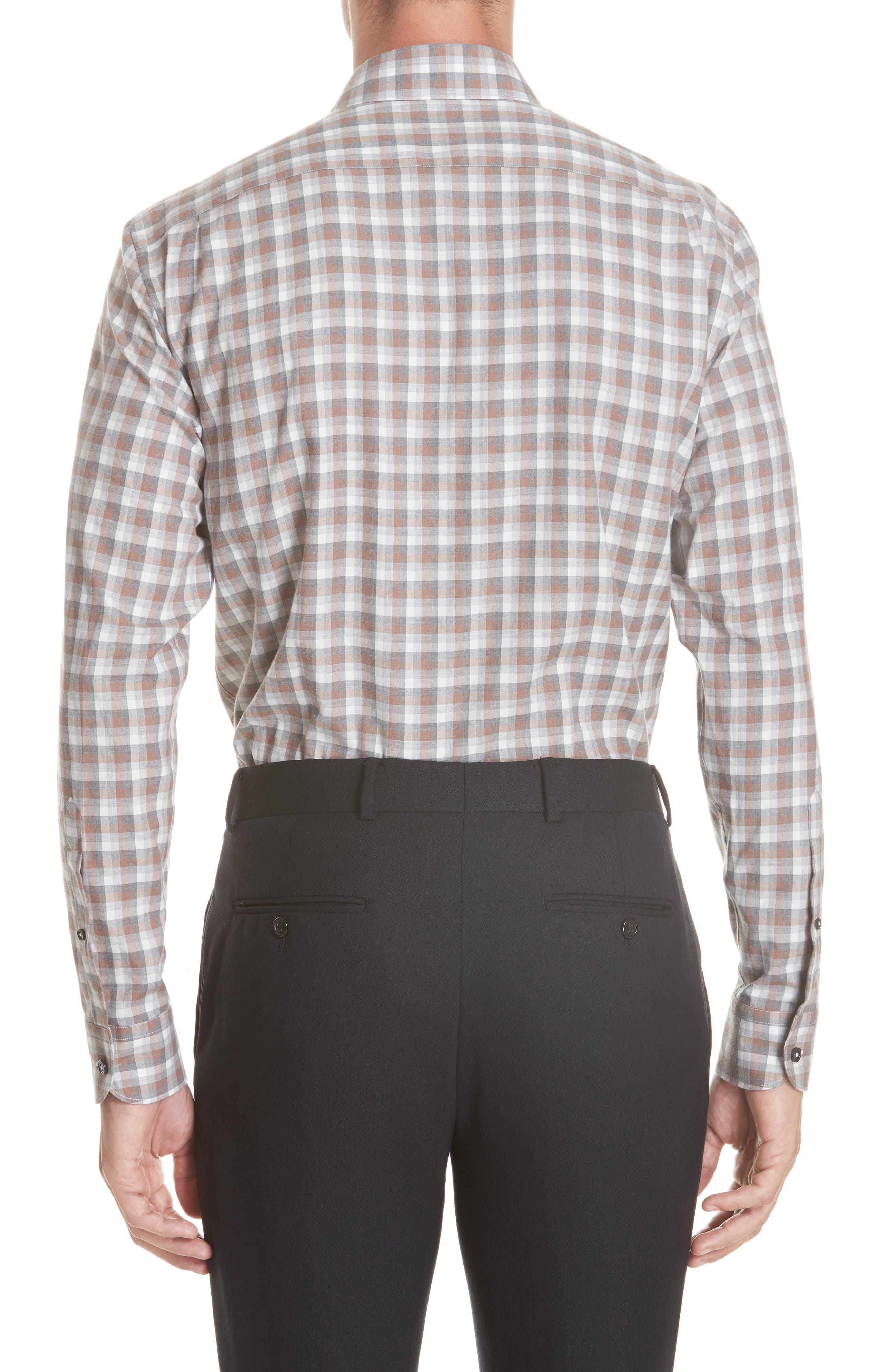 Classic Fit Check Sport Shirt,                             Alternate thumbnail 3, color,                             BROWN