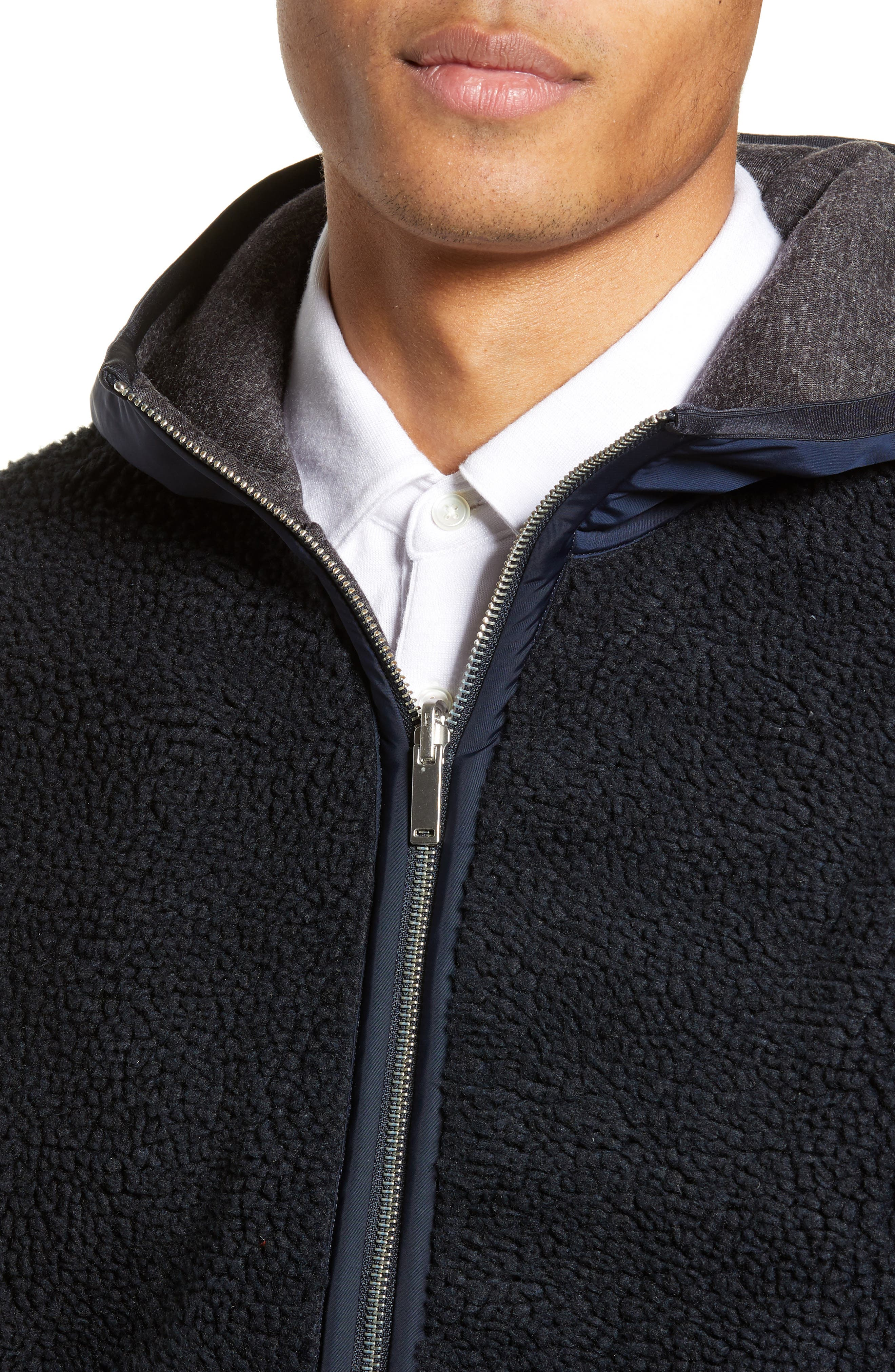 THEORY,                             Polar Fleece Reversible Zip Hoodie,                             Alternate thumbnail 6, color,                             ECLIPSE/ ASHPALT MELANGE