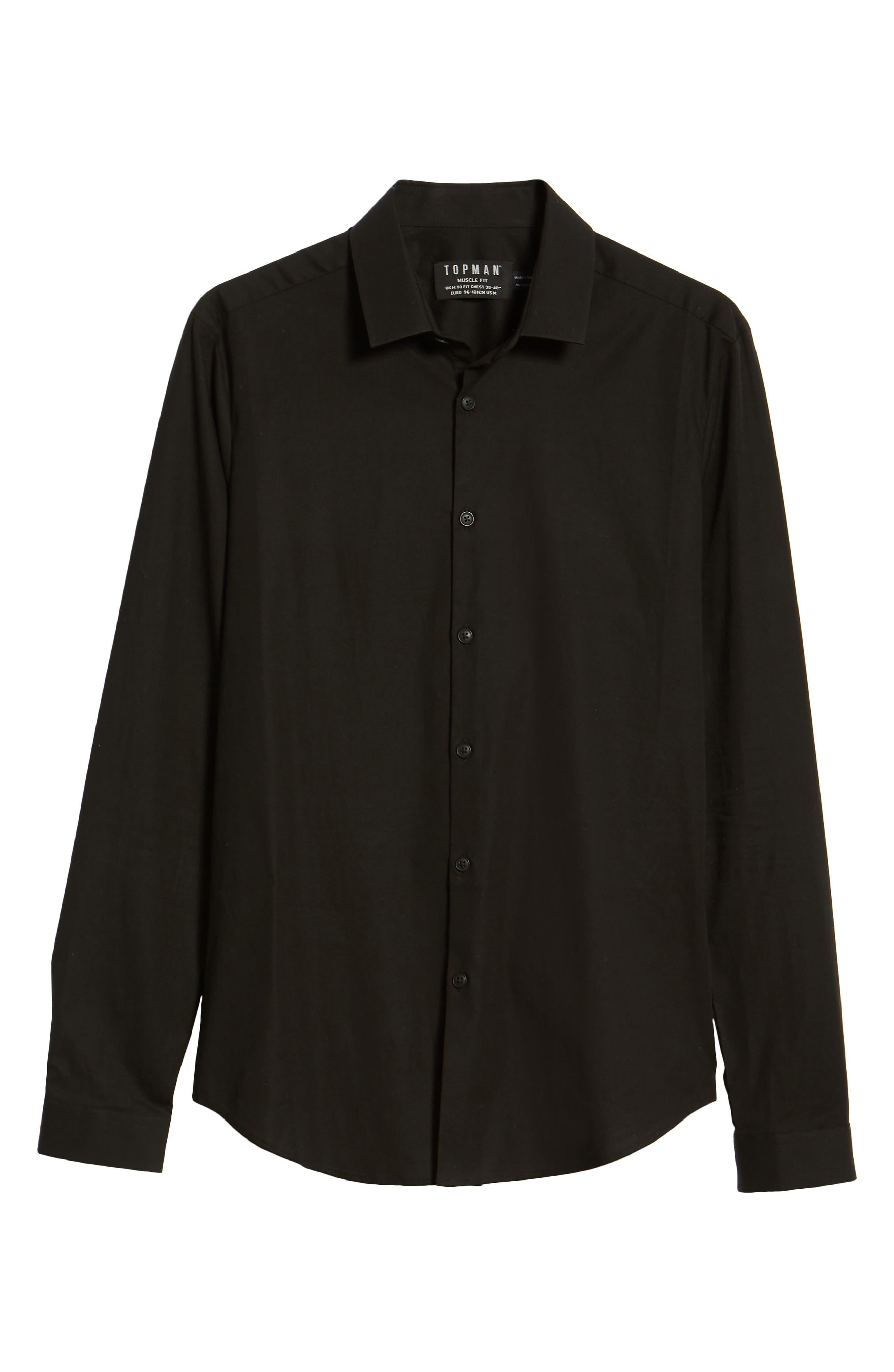 Stretch Skinny Fit Shirt,                             Alternate thumbnail 6, color,                             BLACK