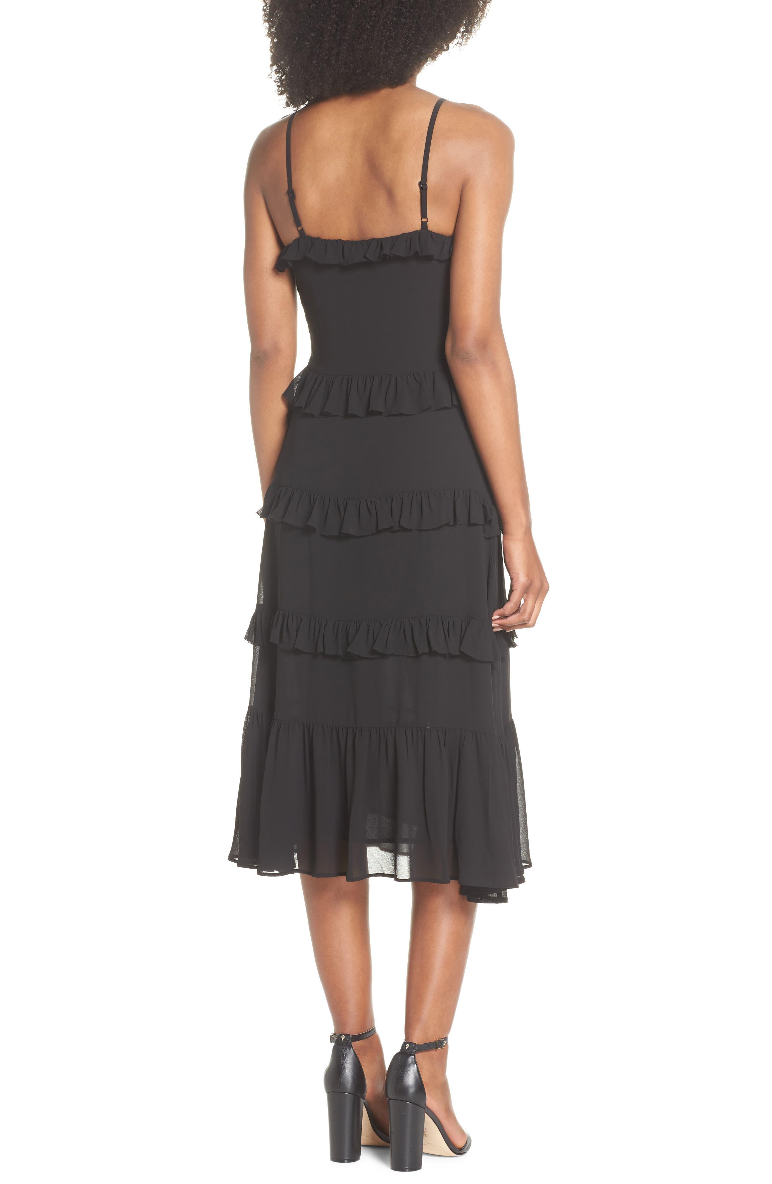 Tiered Ruffle Midi Dress,                             Alternate thumbnail 2, color,                             BLACK