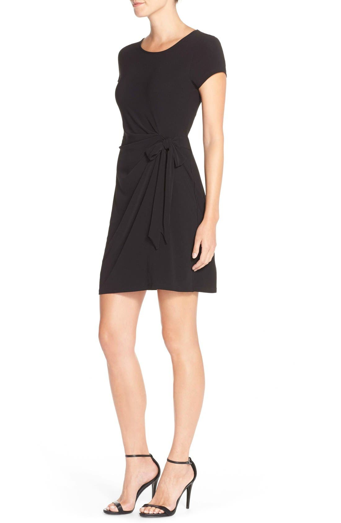 Side Tie Jersey Sheath Dress,                             Alternate thumbnail 4, color,                             BLACK