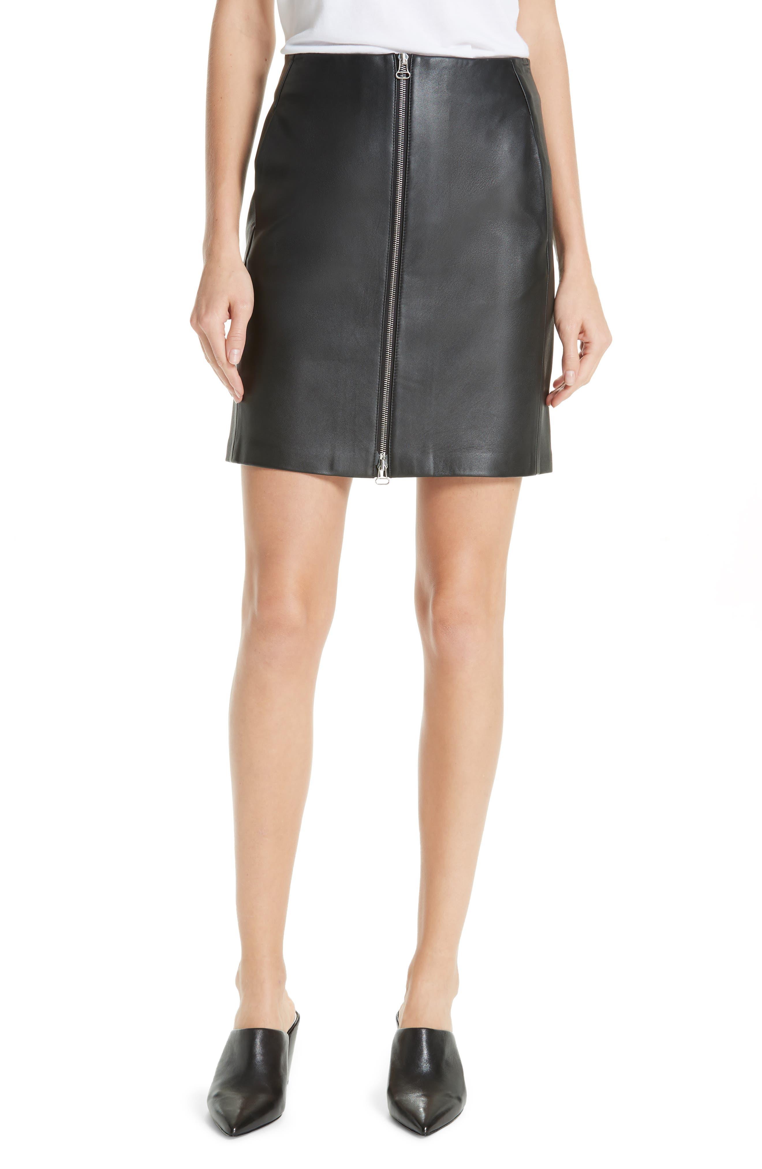 Heidi Leather Skirt,                         Main,                         color, BLACK