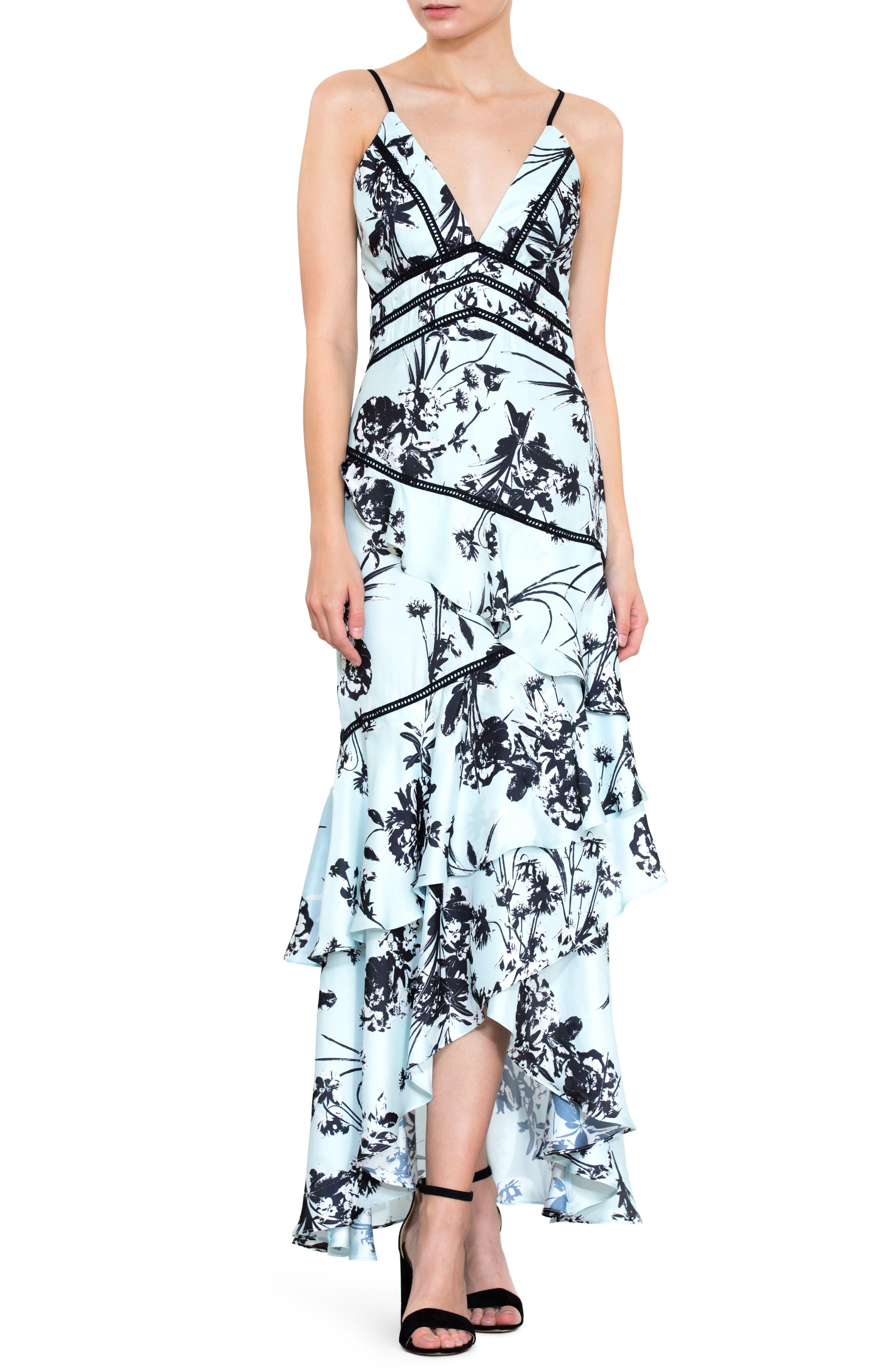Floral Print Ruffle Gown,                             Main thumbnail 1, color,                             450