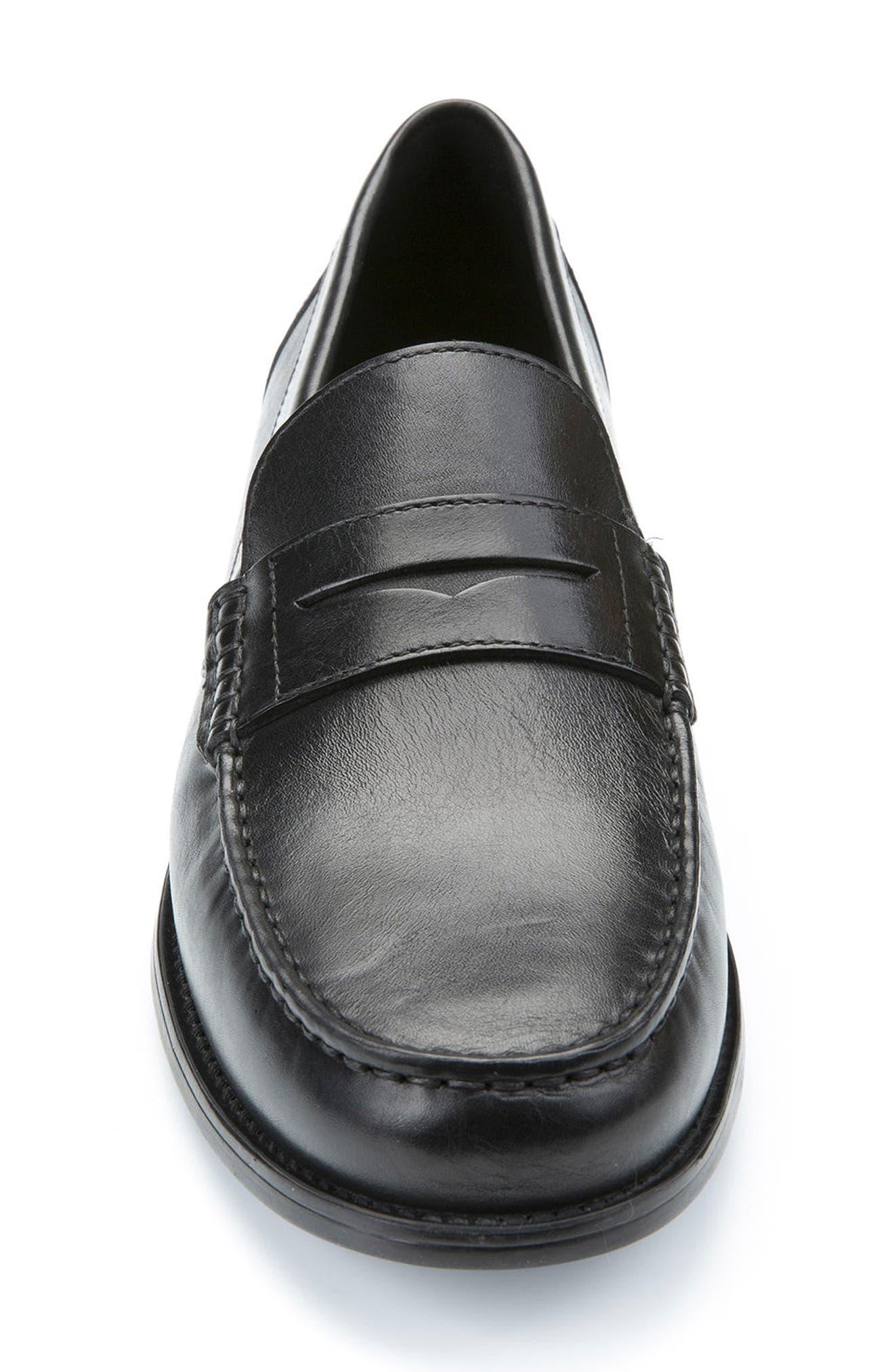 New Damon 1 Slip-On Penny Loafer,                             Alternate thumbnail 4, color,                             BLACK LEATHER