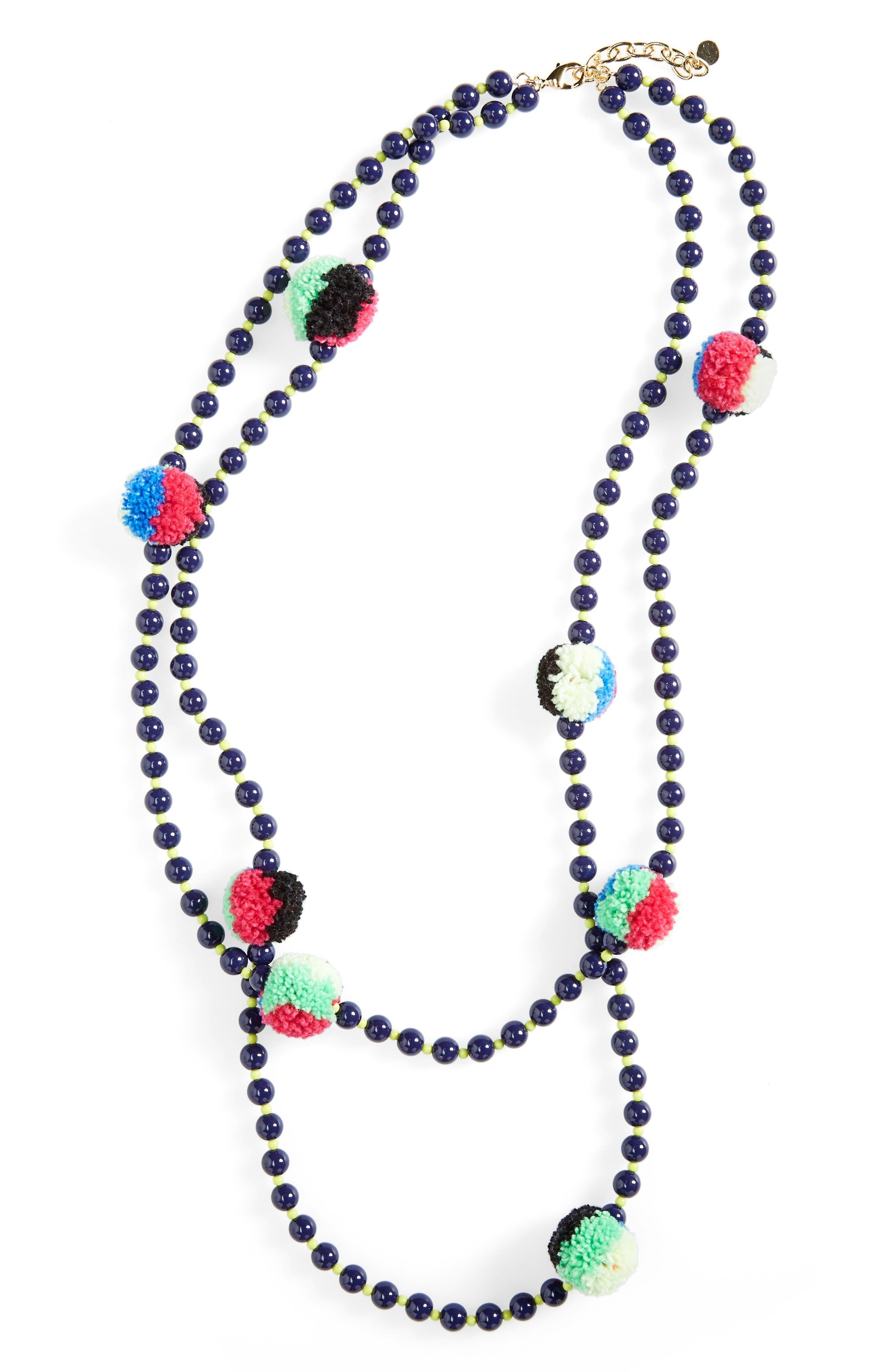 Guadeloupe Pompom Necklace, Main, color, 410