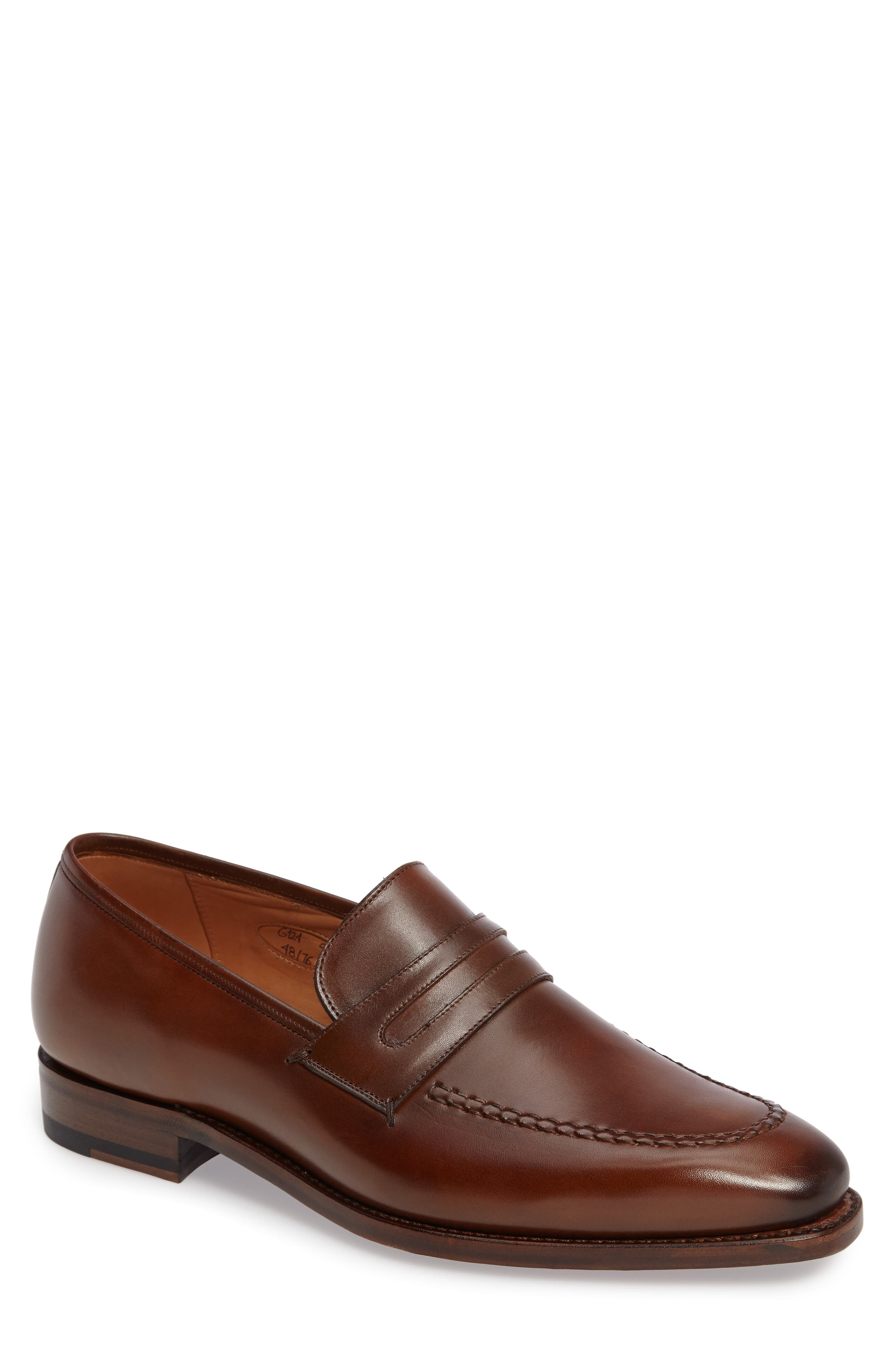 by Mezlan G124 Apron Toe Loafer,                             Main thumbnail 1, color,                             COGNAC