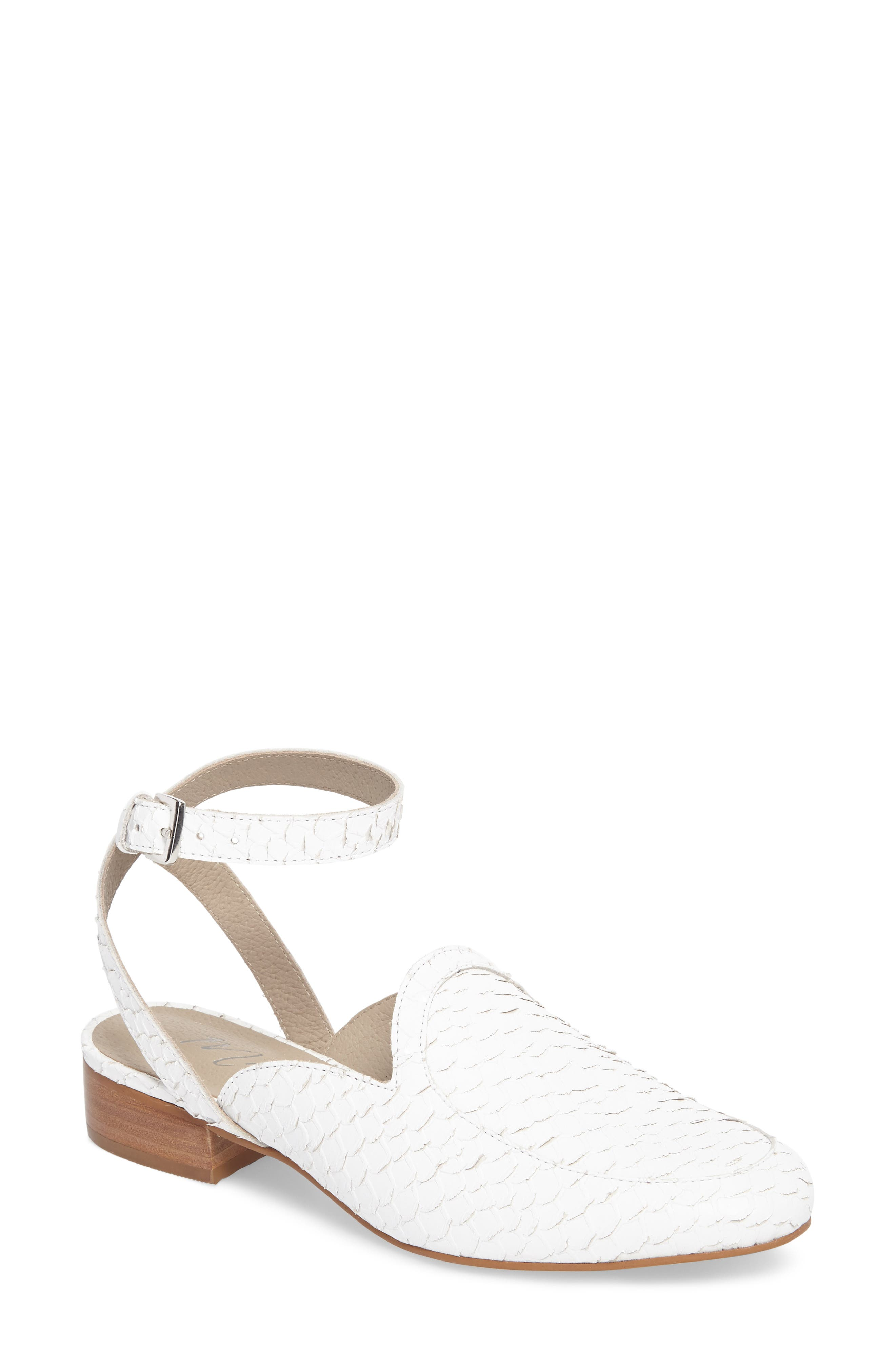 Half Moon Ankle Strap Loafer,                         Main,                         color, WHITE LEATHER