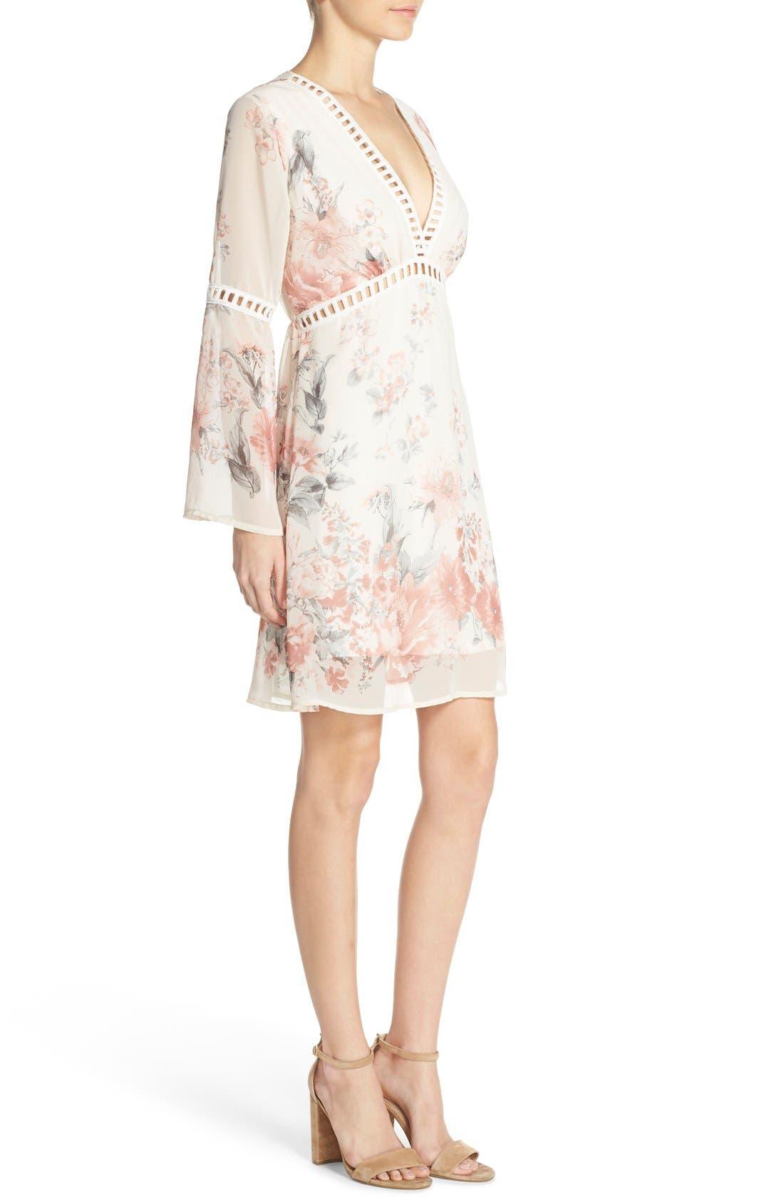 Floral Print Chiffon Blouson Dress,                             Alternate thumbnail 4, color,                             270