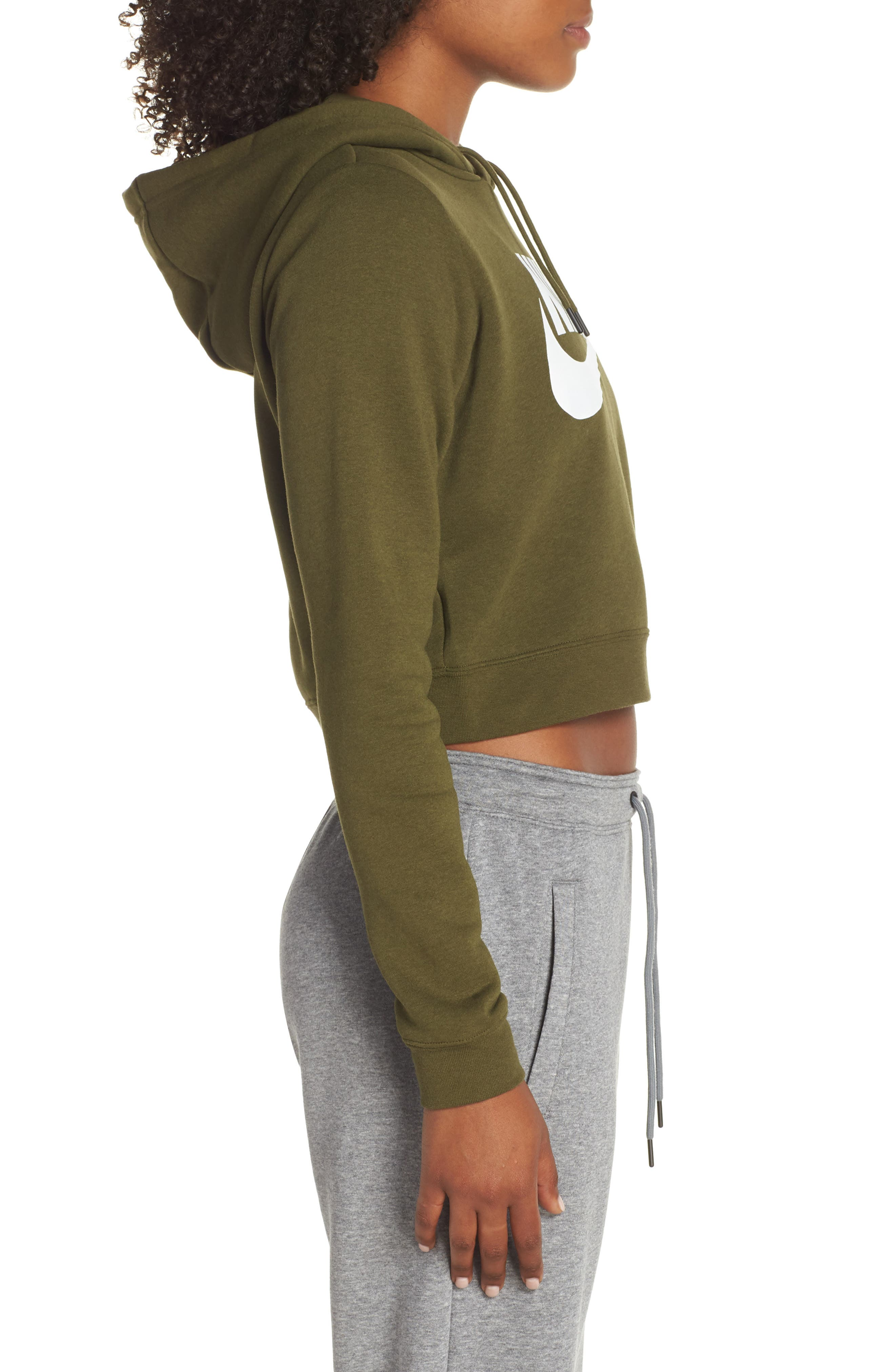 Sportswear Rally Crop Hoodie,                             Alternate thumbnail 3, color,                             OLIVE CANVAS/ WHITE