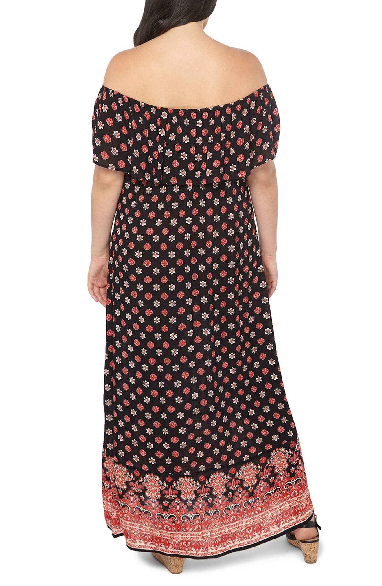 Border Print Maxi Dress,                             Alternate thumbnail 2, color,                             010
