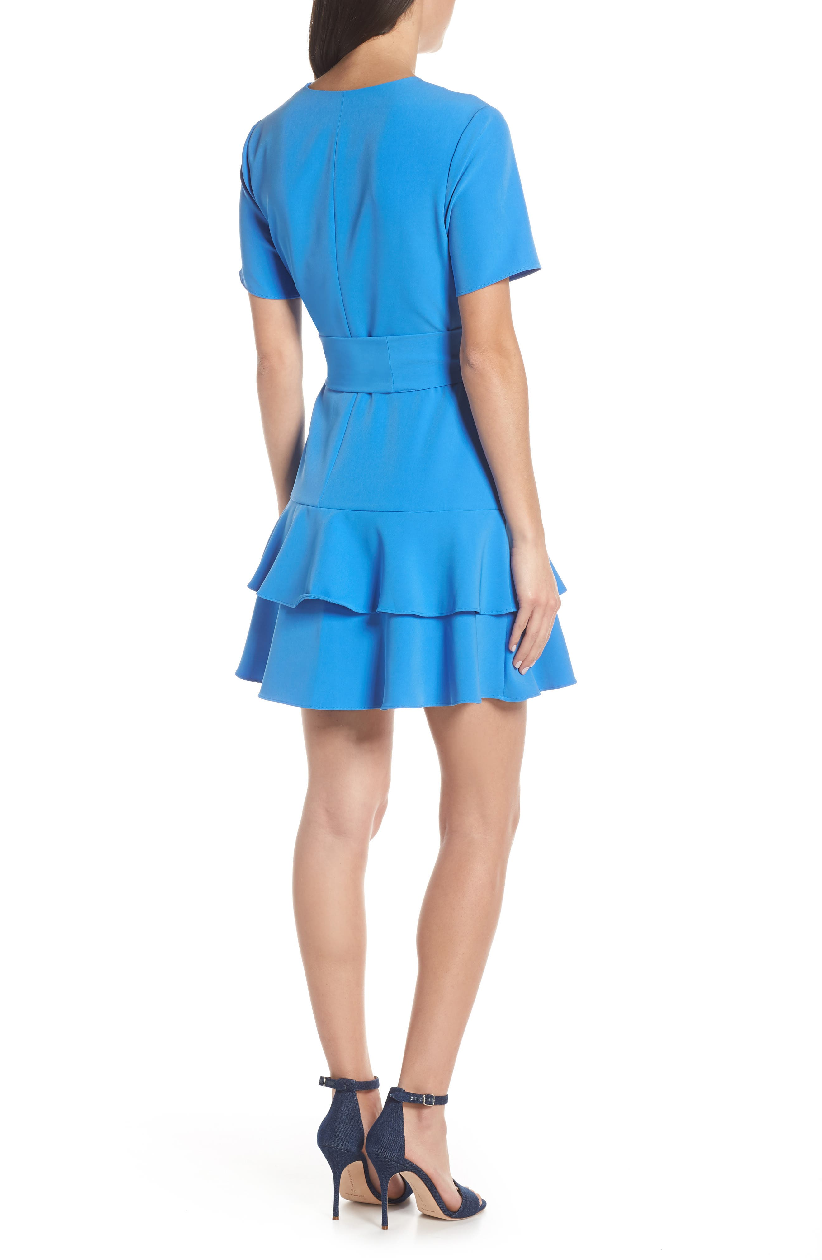 CHARLES HENRY,                             Ruffle Tiered Wrap Dress,                             Alternate thumbnail 2, color,                             DENIM BLUE