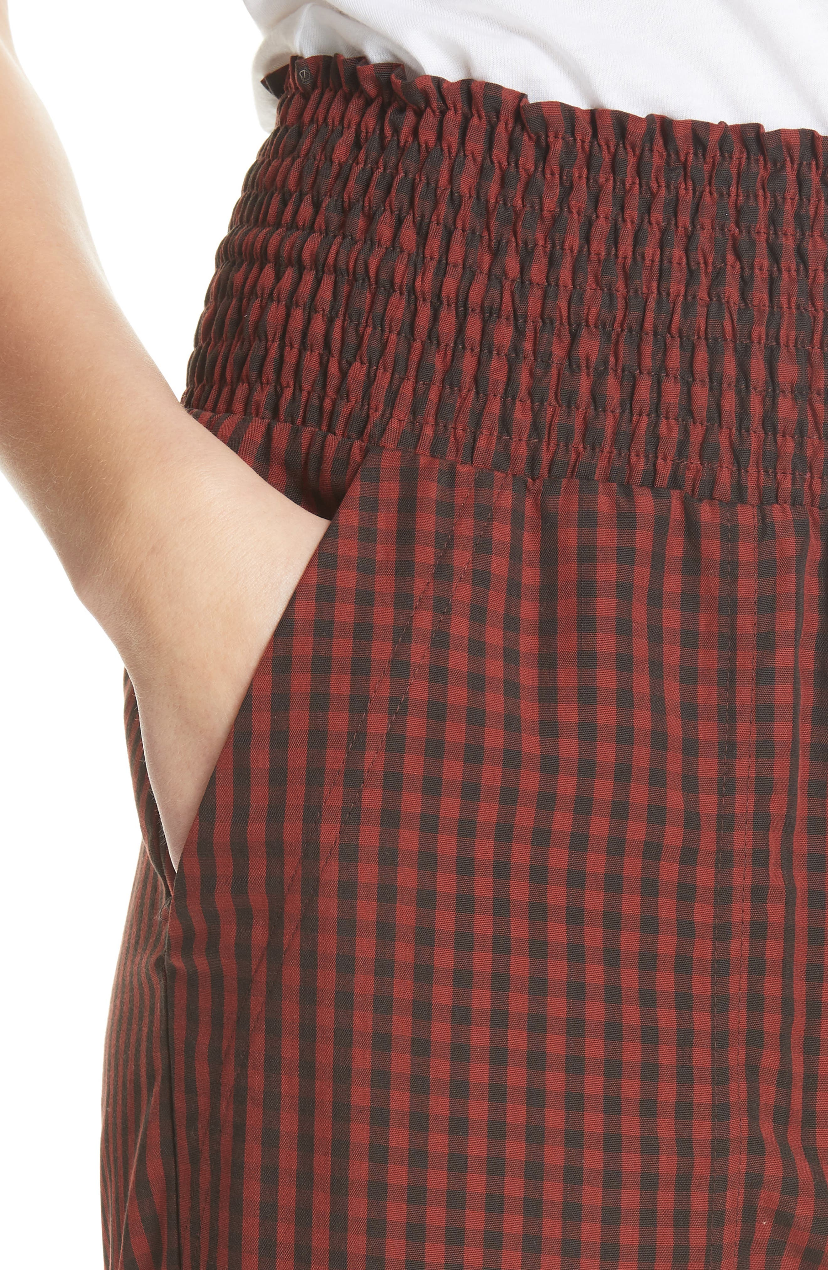 Harlem Gingham Crop Pants,                             Alternate thumbnail 4, color,                             RED CHECK