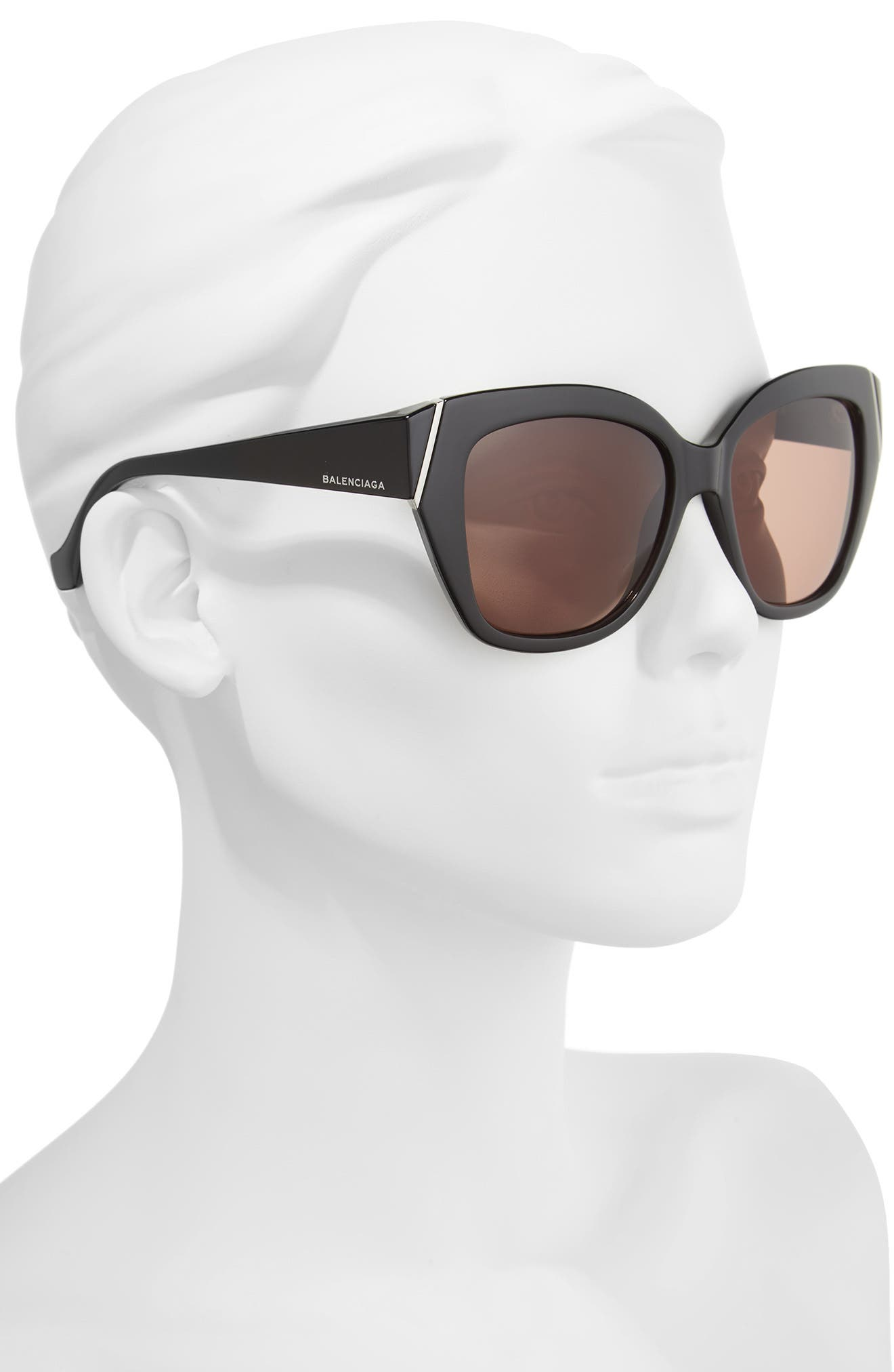 57mm Cat Eye Sunglasses,                             Alternate thumbnail 2, color,                             001