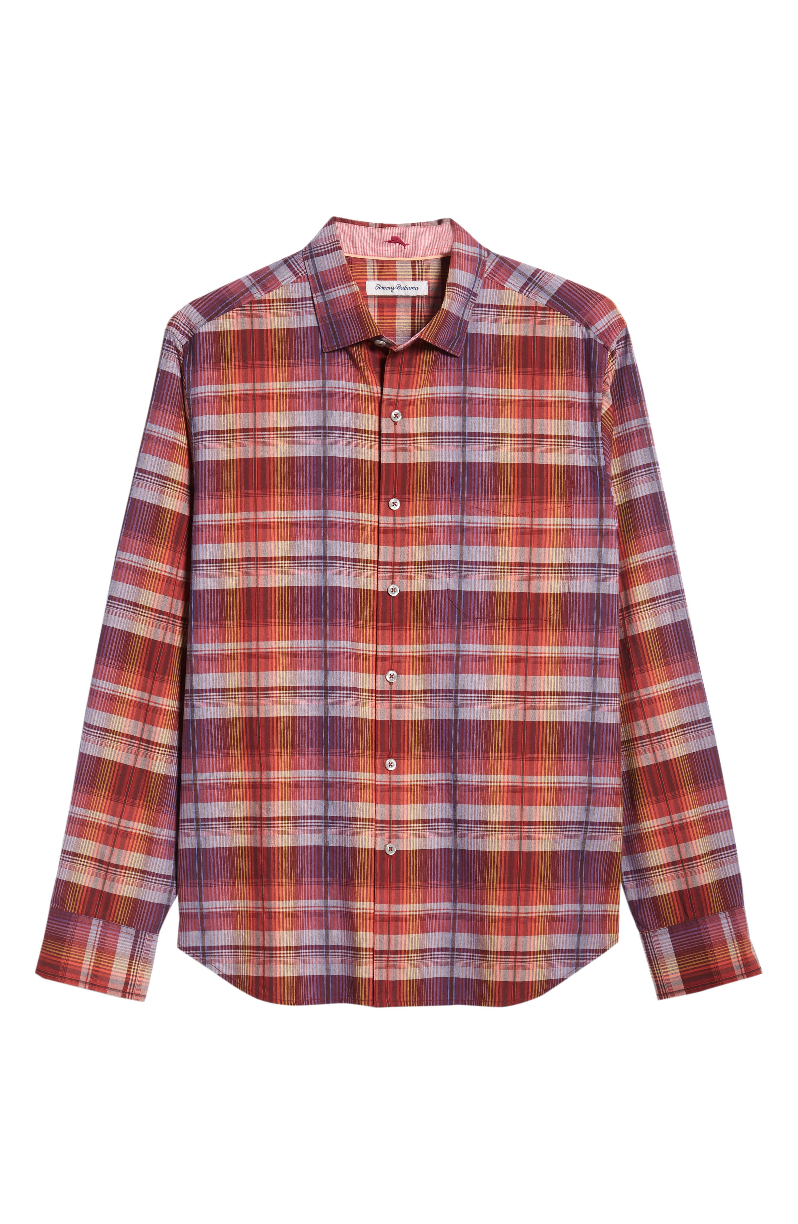 Puerto Prism Plaid Sport Shirt,                             Alternate thumbnail 5, color,                             SCOOTER RED
