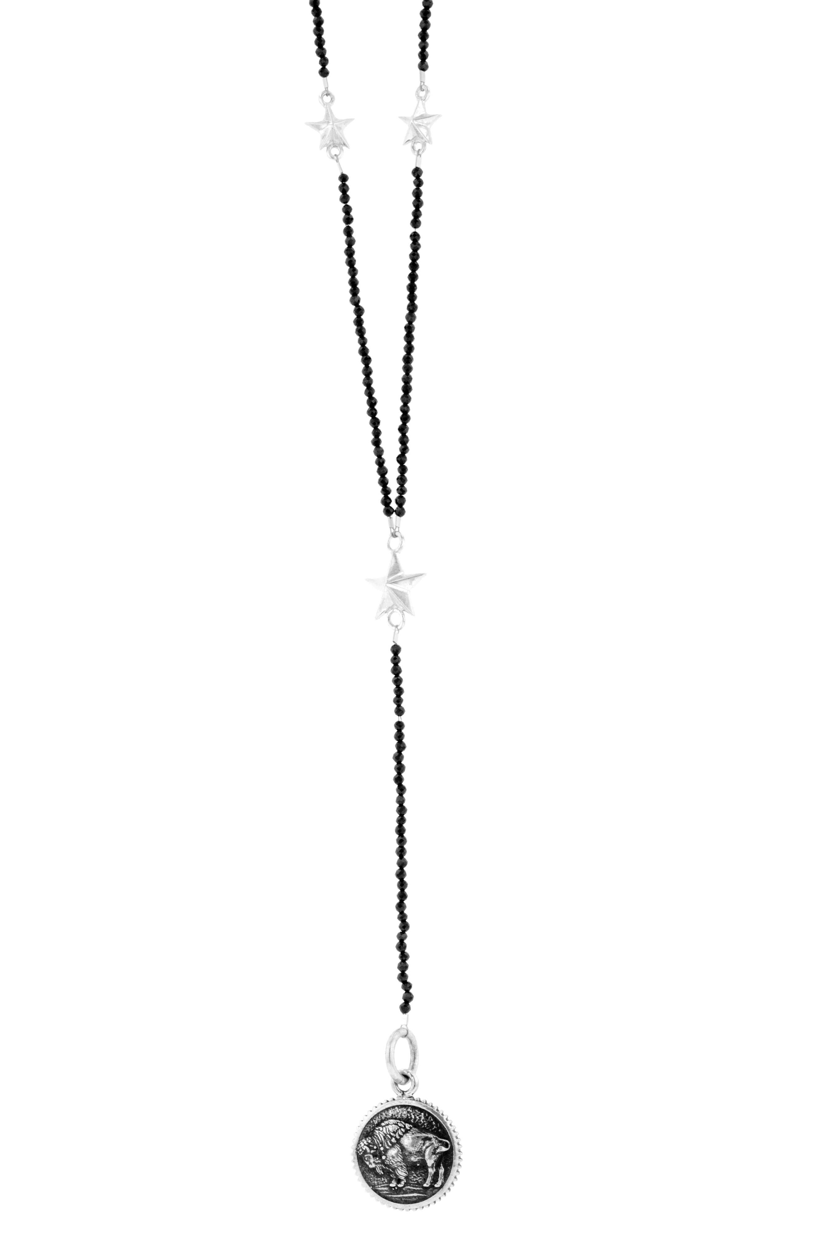 KING BABY Buffalo Rosary Necklace in Silver/ Black