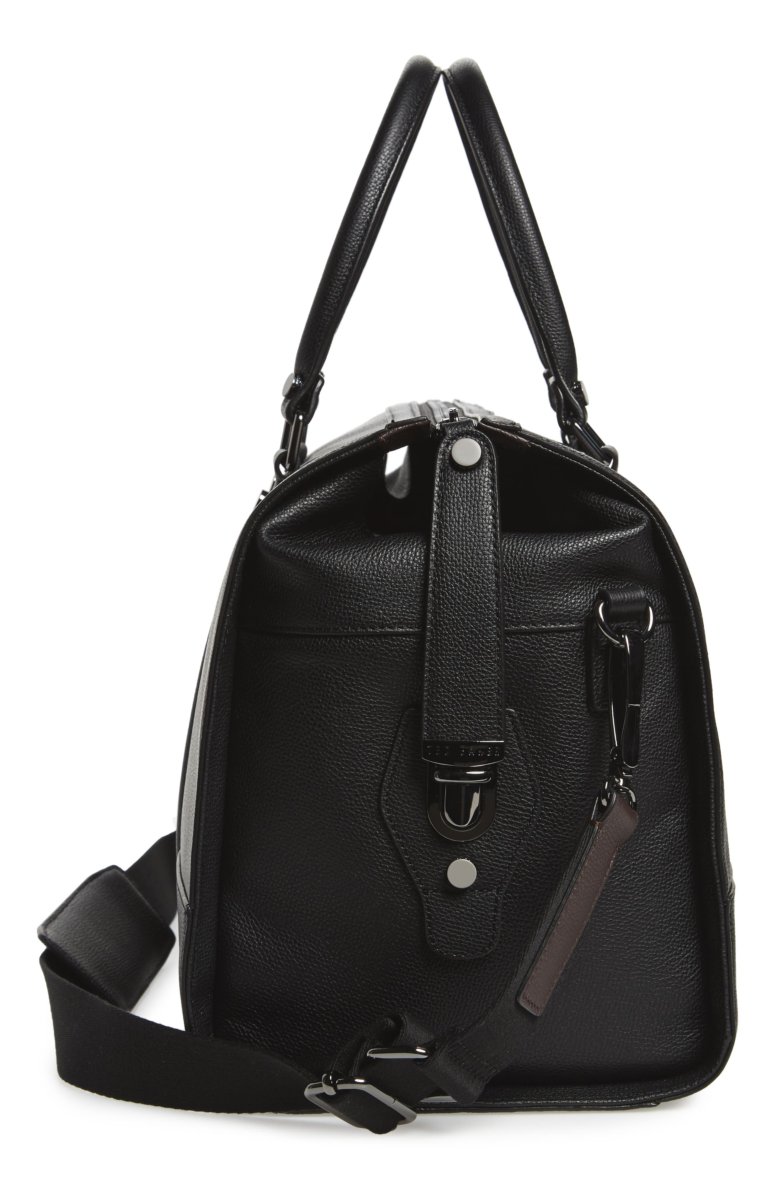 Leather Duffel Bag,                             Alternate thumbnail 5, color,                             001