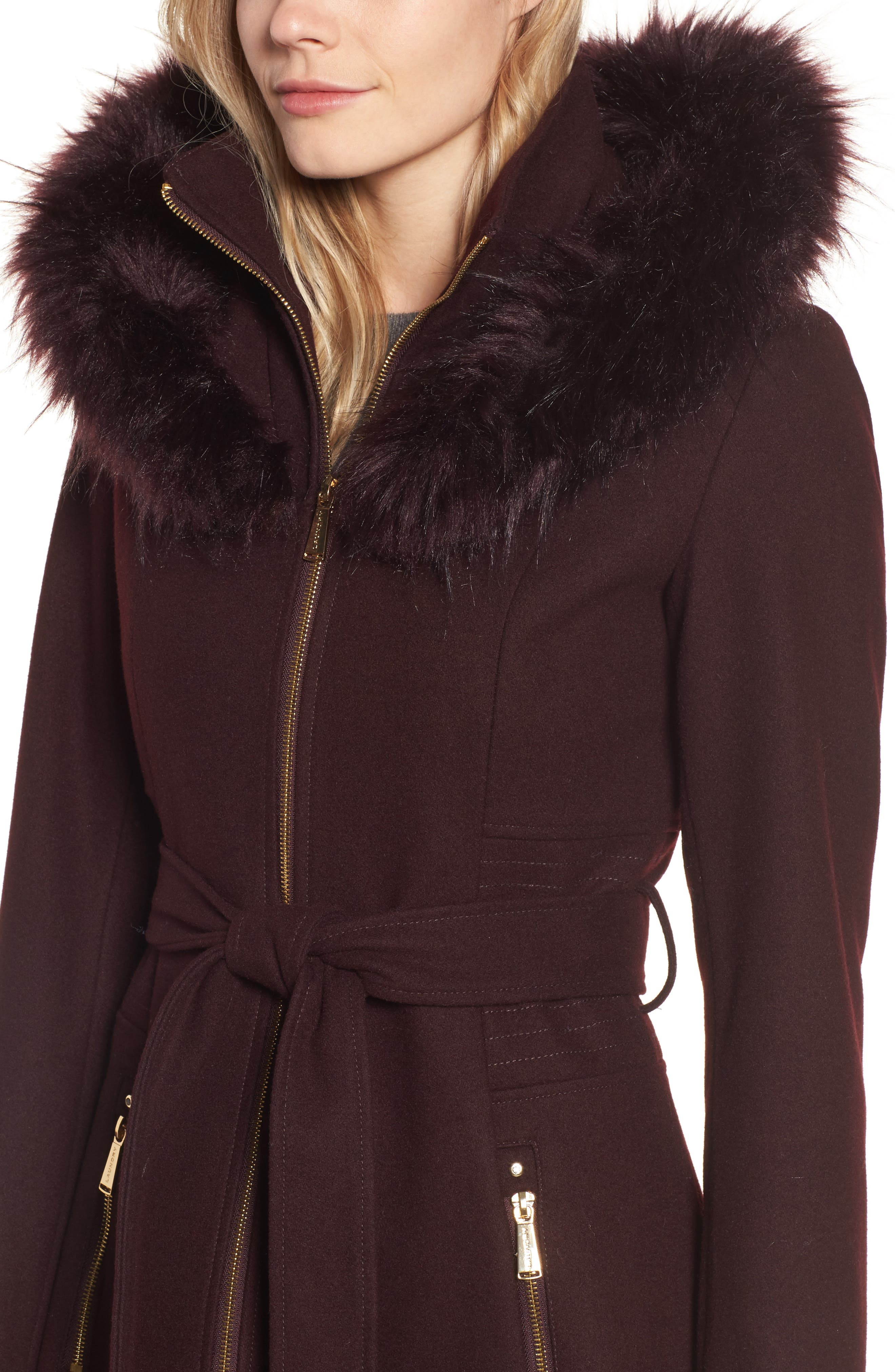 Belted Fit & Flare Coat with Faux Fur Trim,                             Alternate thumbnail 9, color,