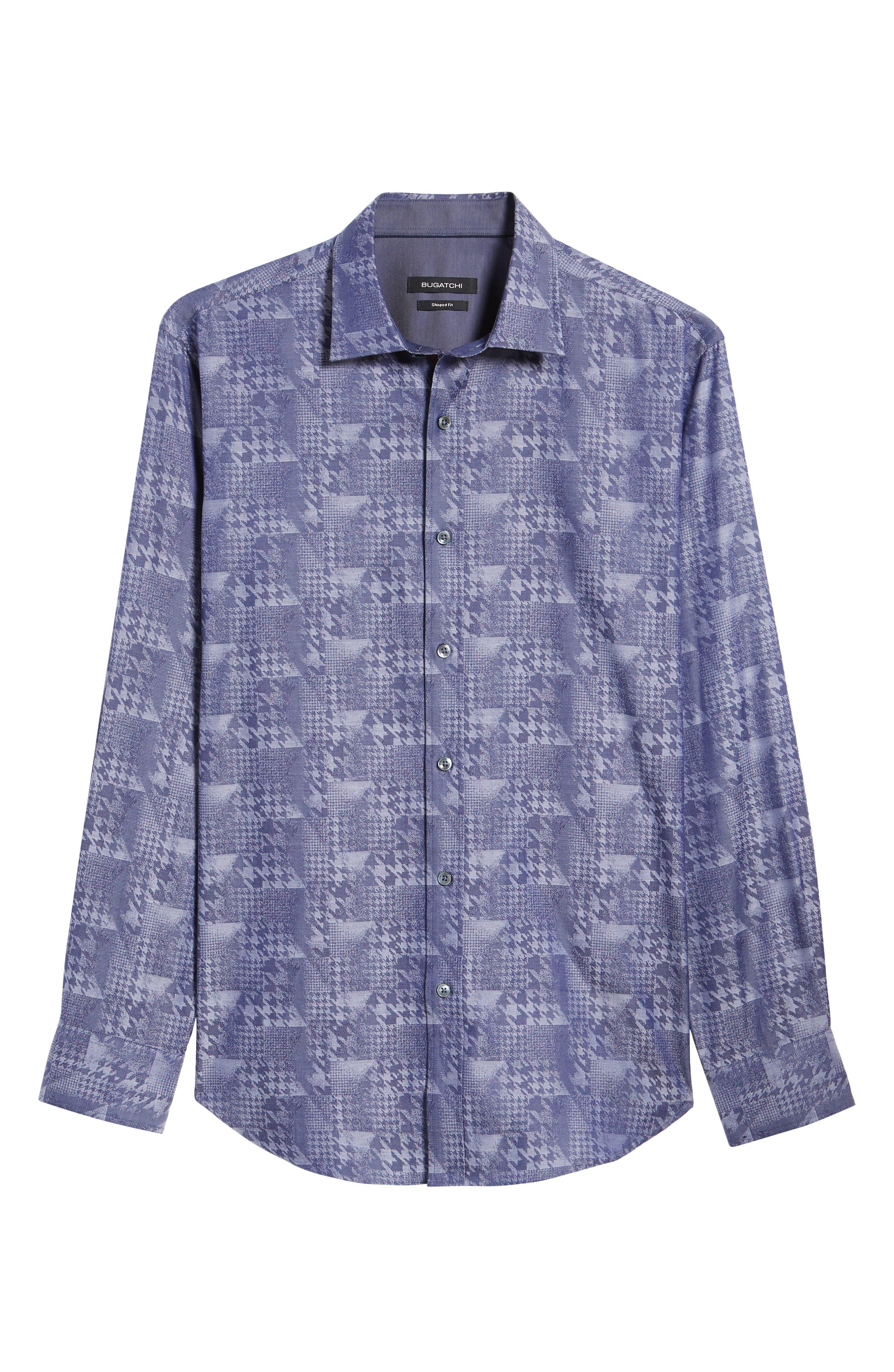 Shaped Fit Glen Check Sport Shirt,                             Alternate thumbnail 6, color,                             INDIGO