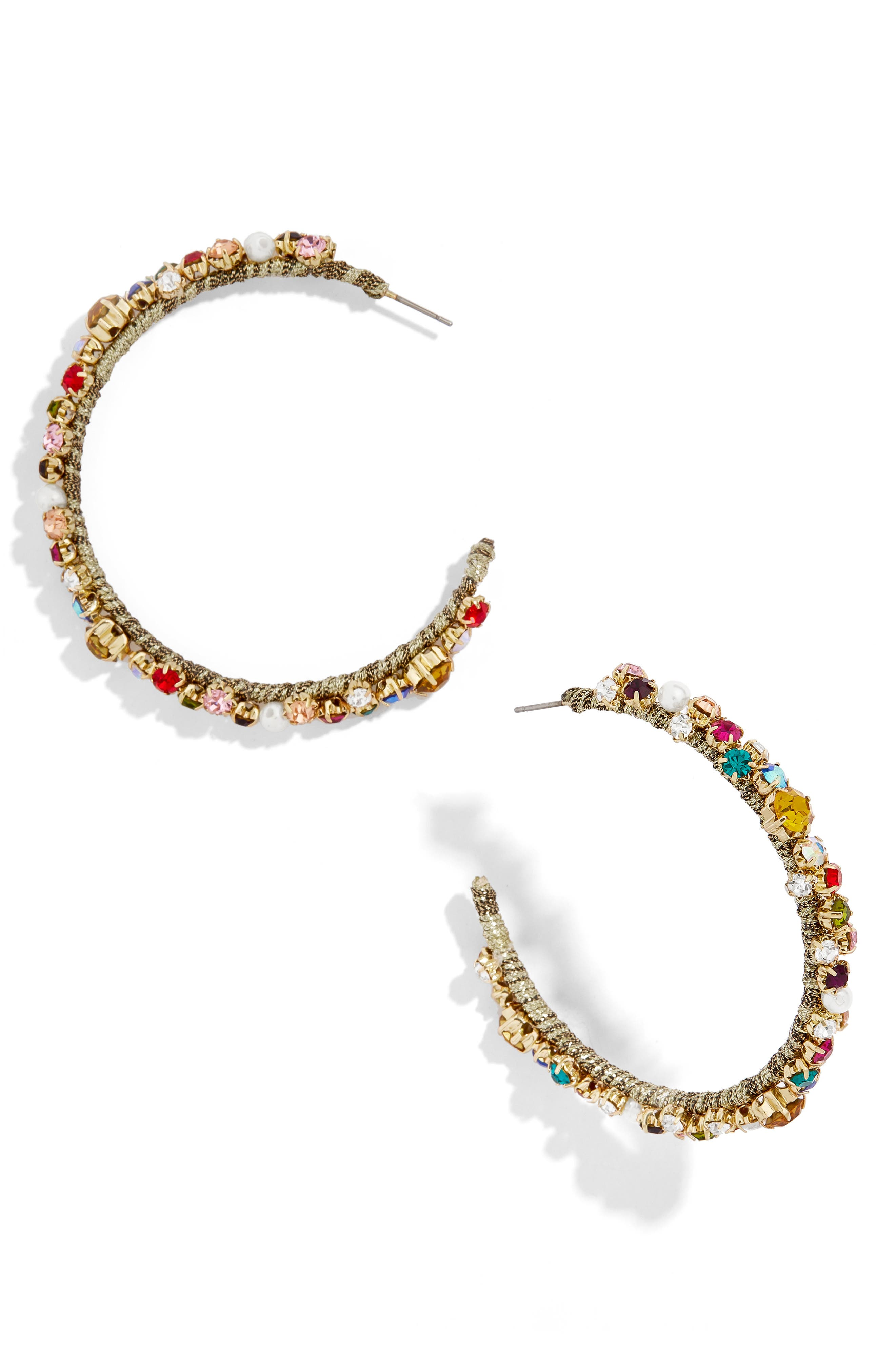 Avie Hoop Earrings,                             Main thumbnail 1, color,                             PINK MULTI