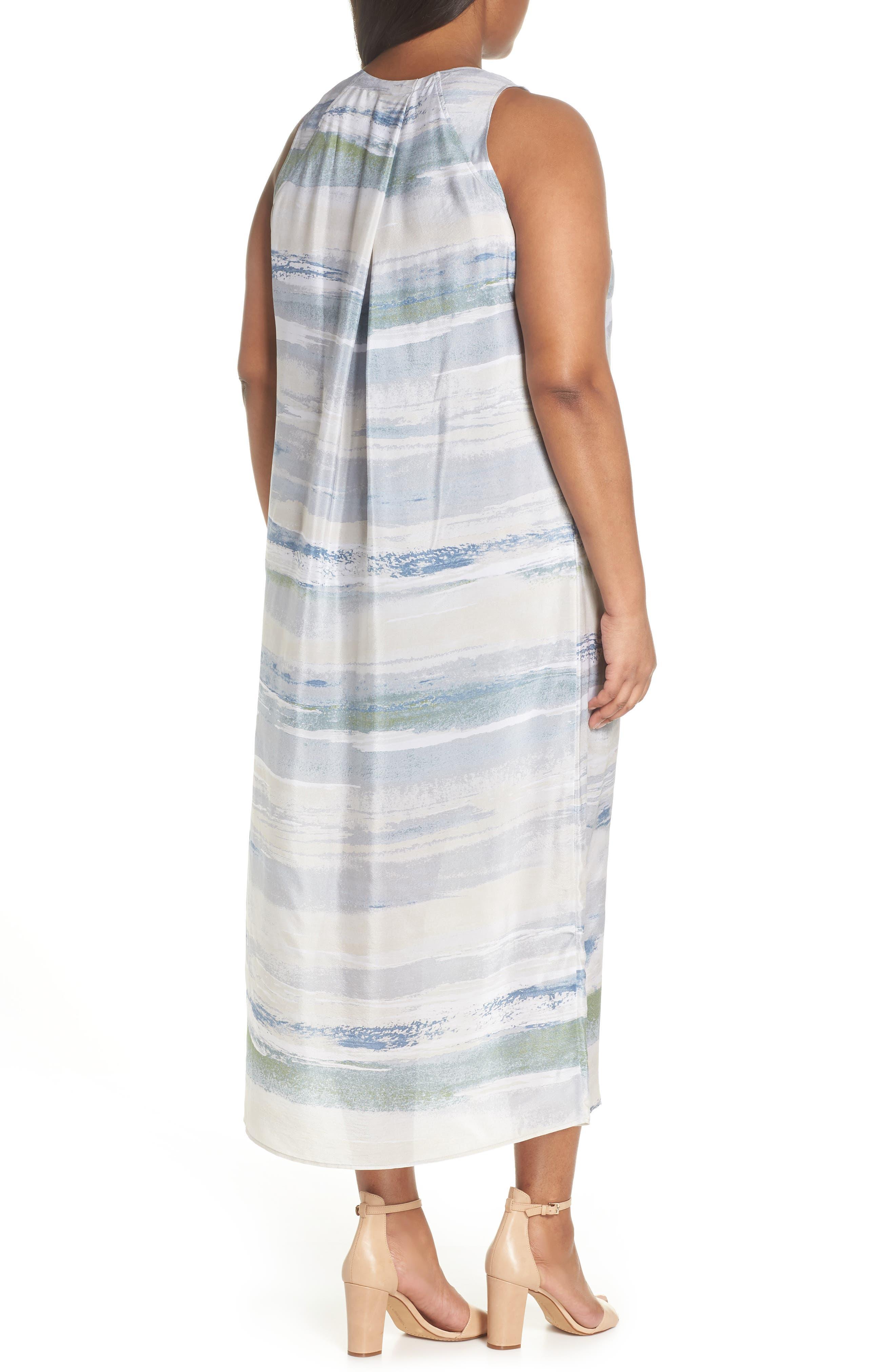 Watercolor Silk Blend Sleeveless Dress,                             Alternate thumbnail 2, color,