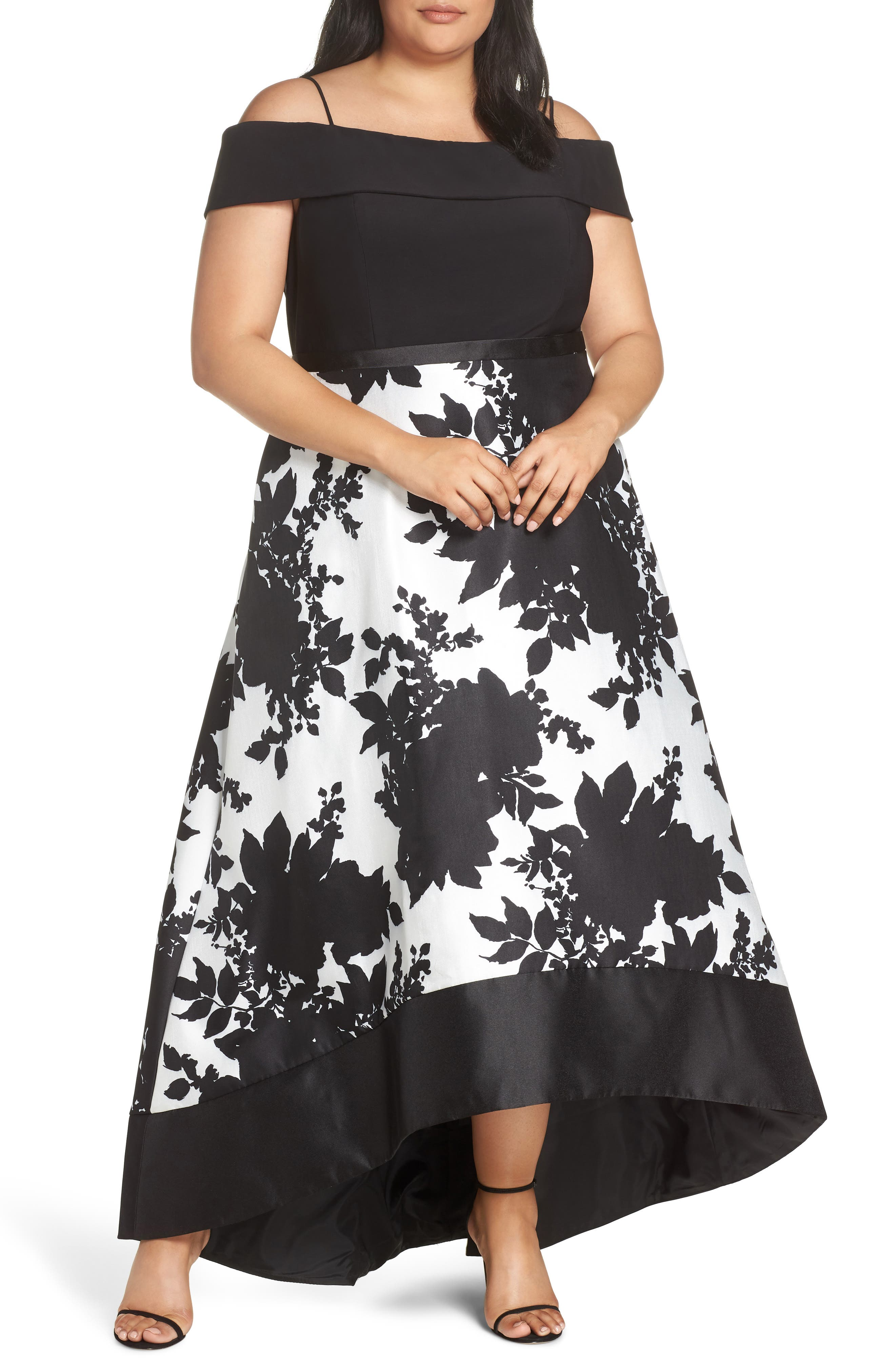 MORGAN & CO.,                             Off the Shoulder Bodice High/Low Hem Ballgown,                             Main thumbnail 1, color,                             BLACK/ WHITE