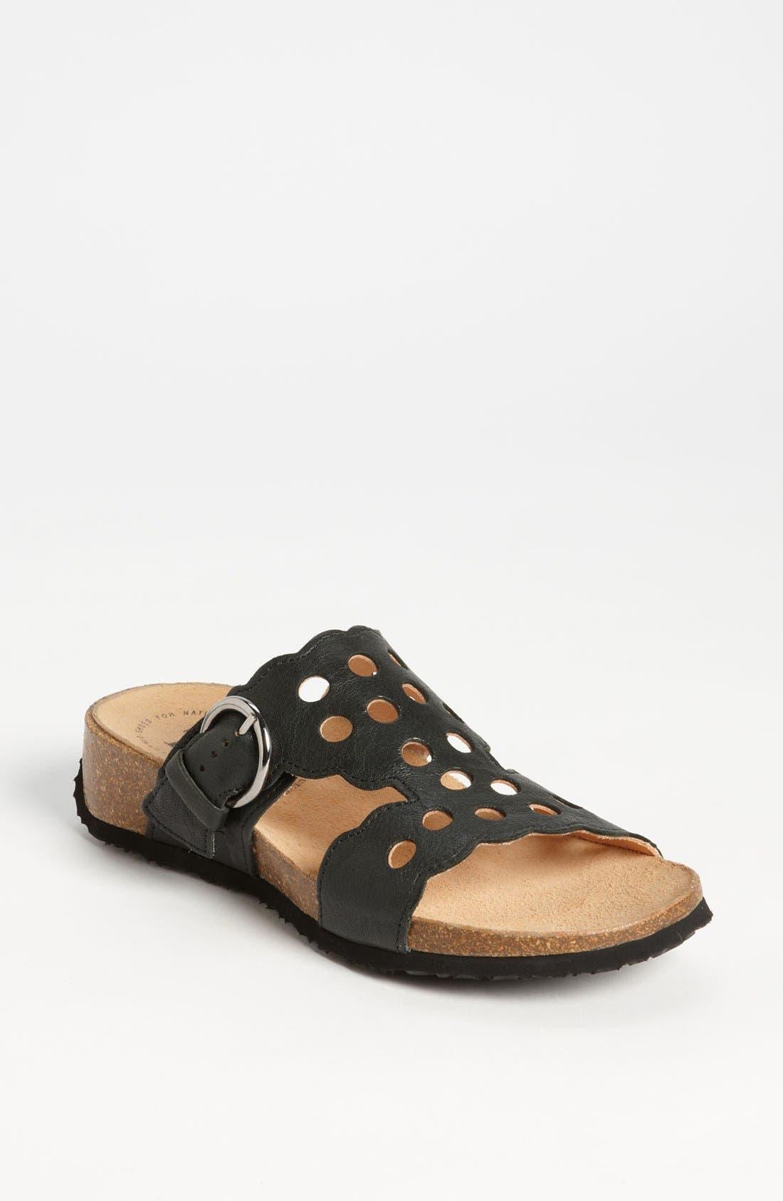 'Mizzi' T-Strap Sandal,                             Main thumbnail 1, color,                             BLACK LEATHER