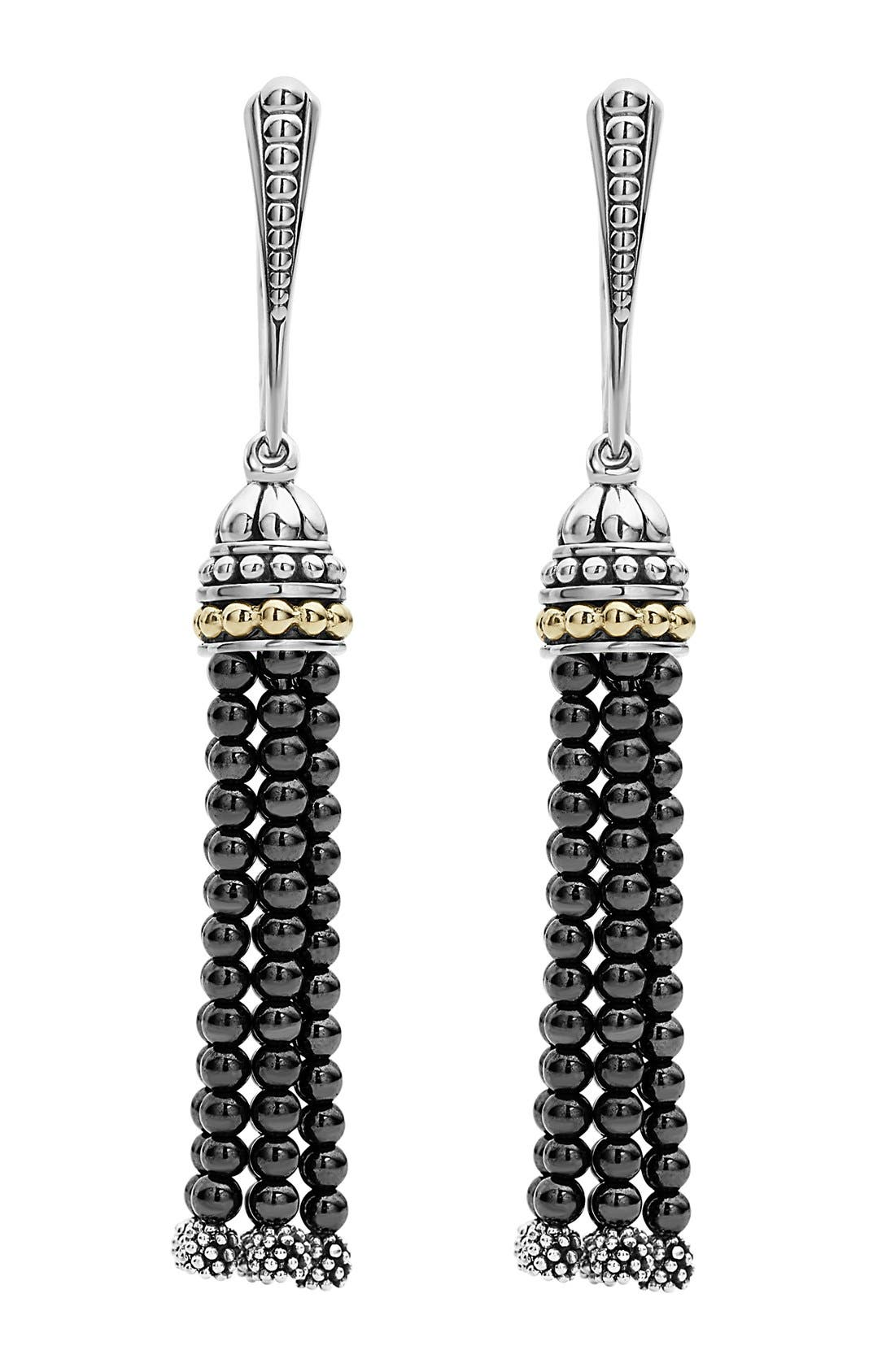 Caviar Icon Tassel Drop Earrings,                             Main thumbnail 1, color,                             HEMATITE/ SILVER/ GOLD