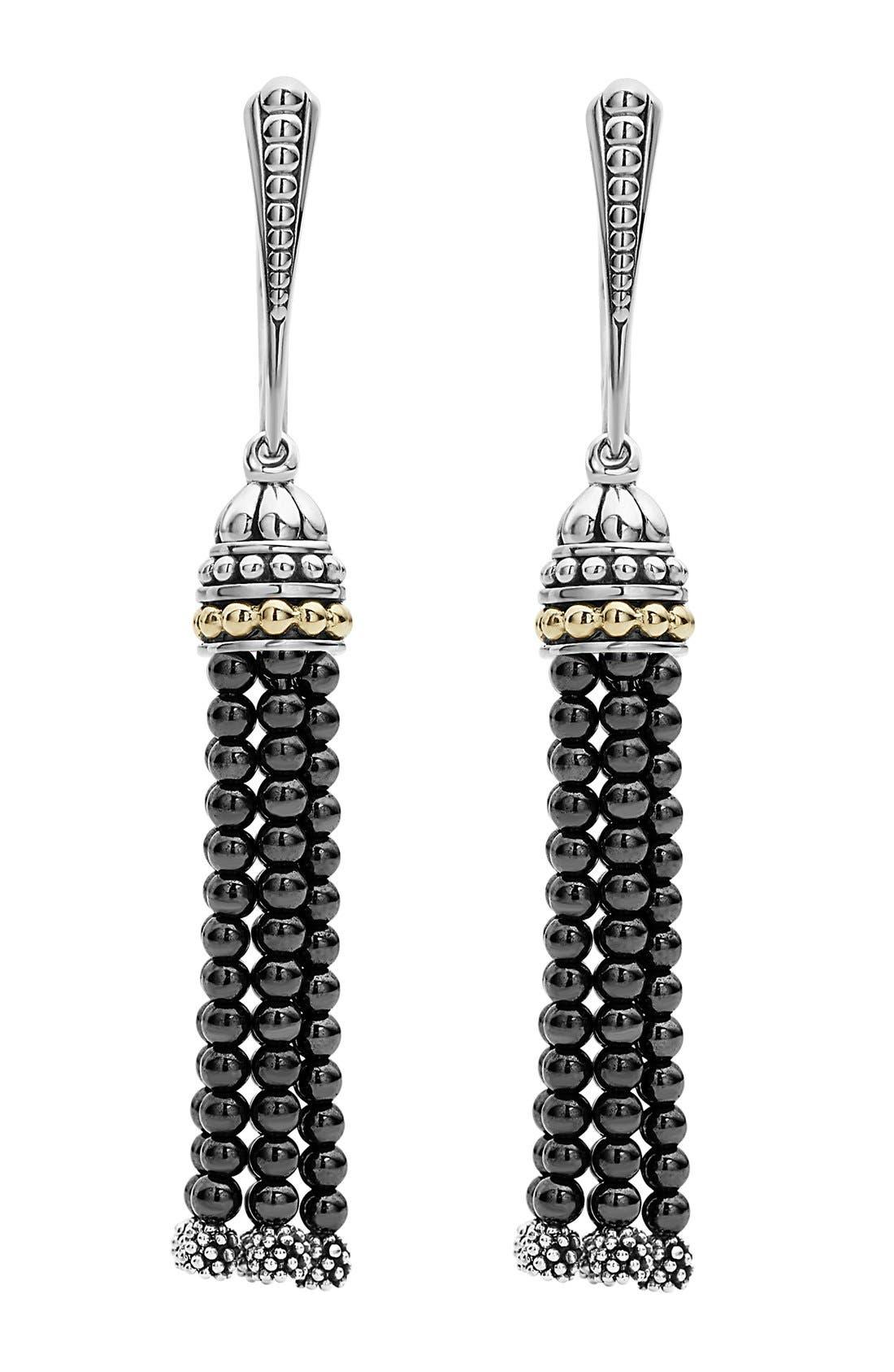 Caviar Icon Tassel Drop Earrings,                         Main,                         color, HEMATITE/ SILVER/ GOLD