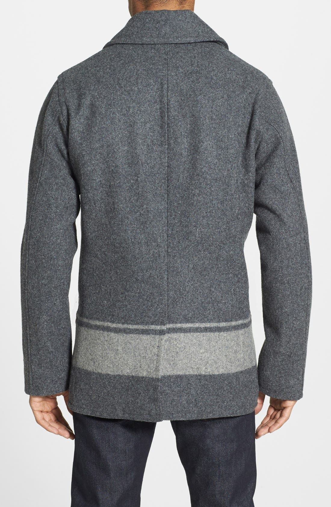 WOOLRICH,                             'Dockworker' Double Breasted Peacoat,                             Alternate thumbnail 3, color,                             034