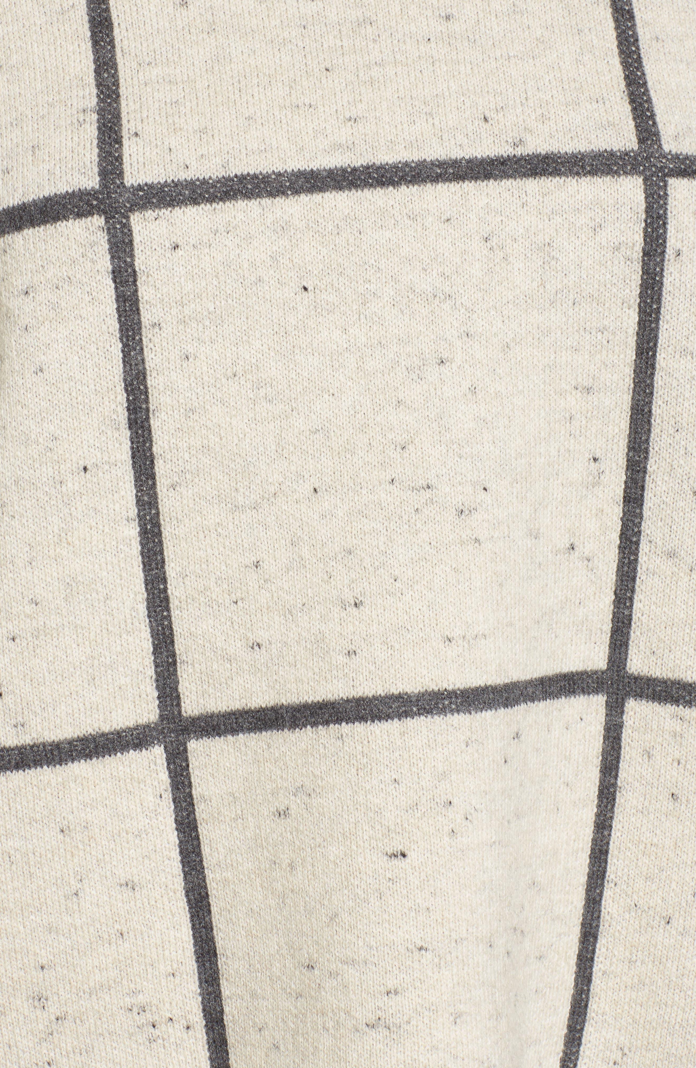 Windowpane Check Boxy Sweater,                             Alternate thumbnail 5, color,