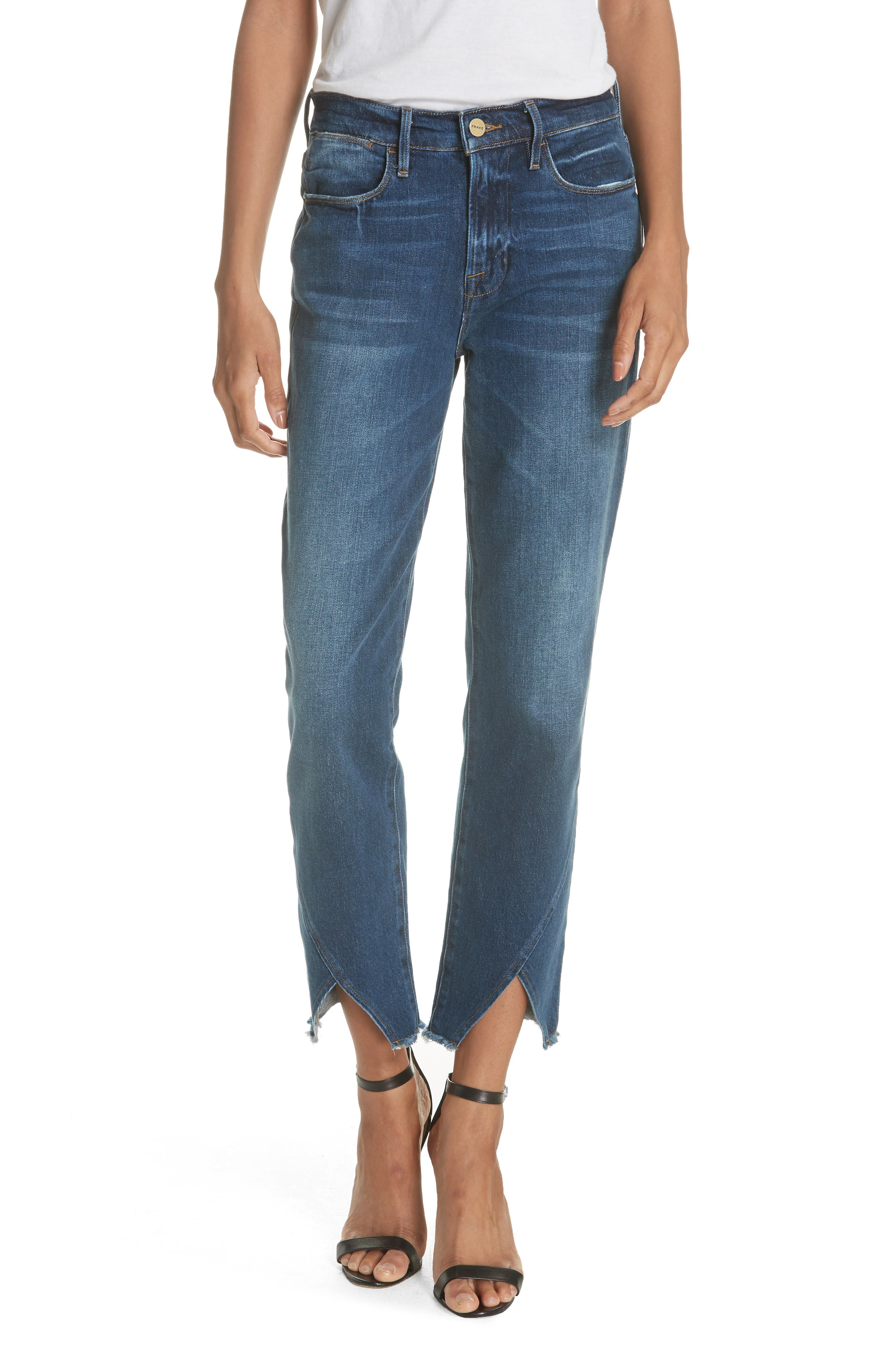 Le High Straight Asymmetrical Hem Jeans,                             Main thumbnail 1, color,                             401