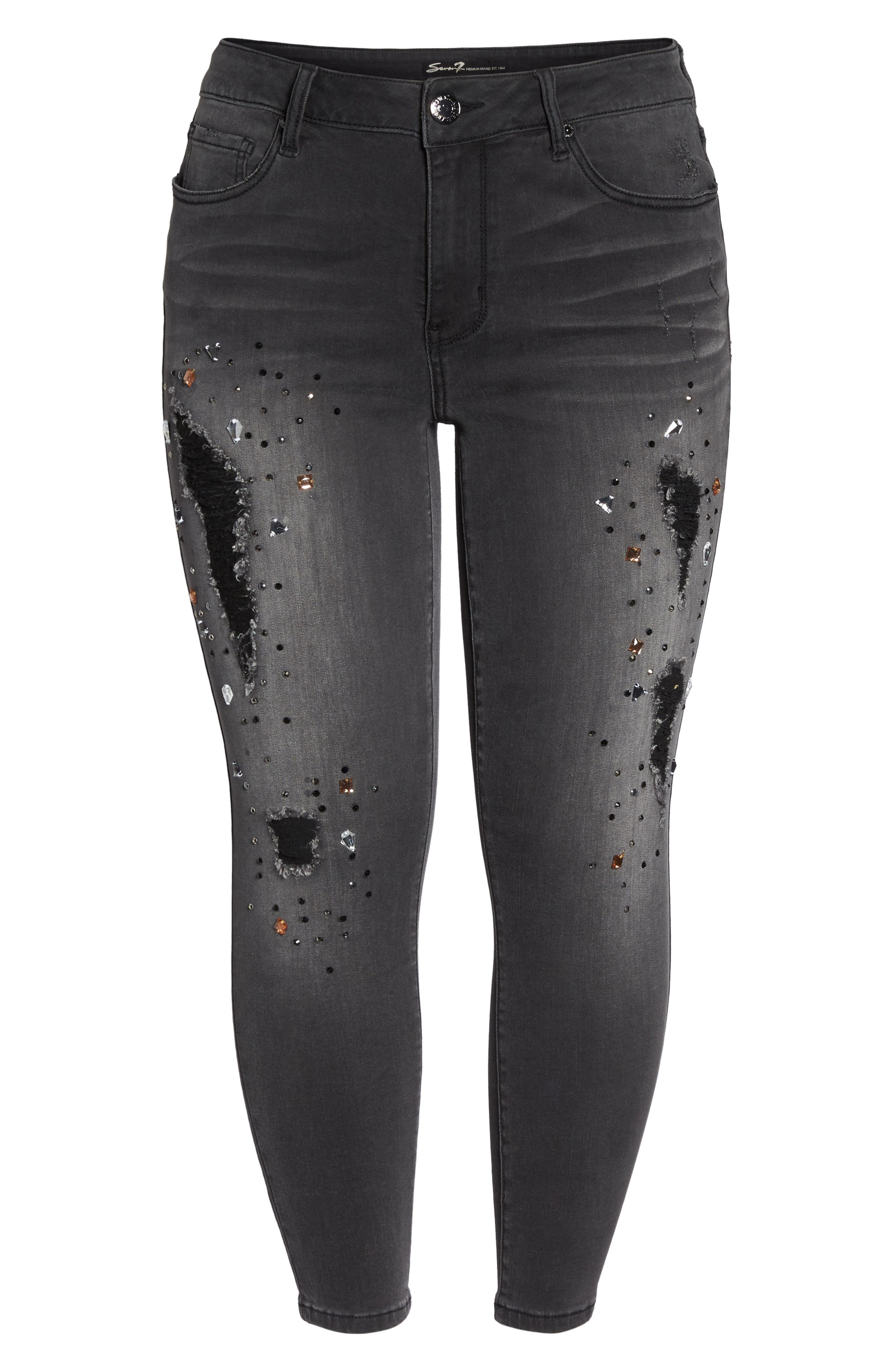 Embellished Ripped Skinny Jeans,                             Alternate thumbnail 6, color,                             027